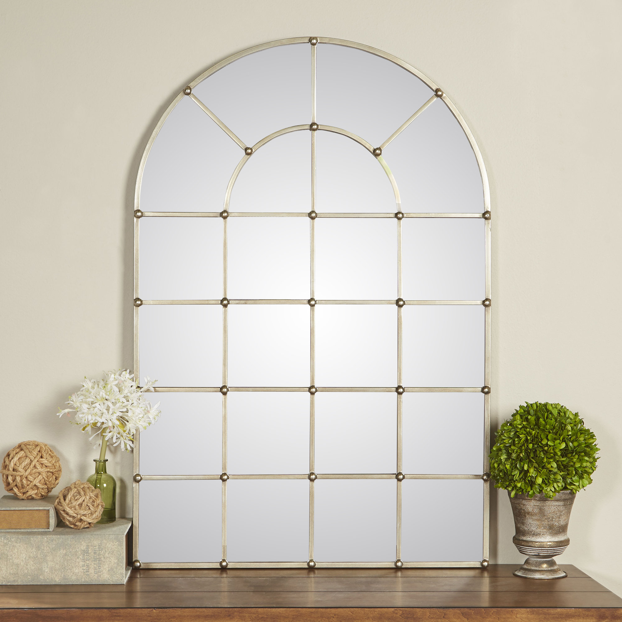 One Allium Way Metal Arch Window Wall Mirror & Reviews Throughout Most Popular Metal Arch Window Wall Mirrors (View 10 of 20)