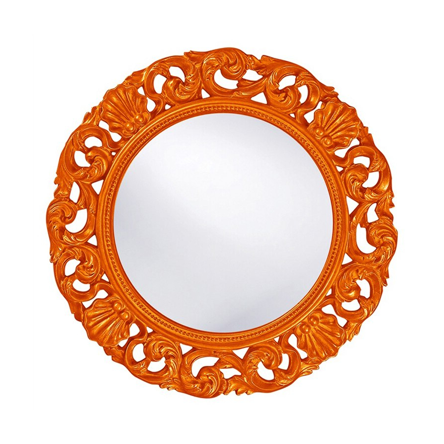 Orange Framed Wall Mirrors Intended For Fashionable Tyler Dillon Glendale 26 In L X 26 In W Orange Framed Round Wall (View 13 of 20)