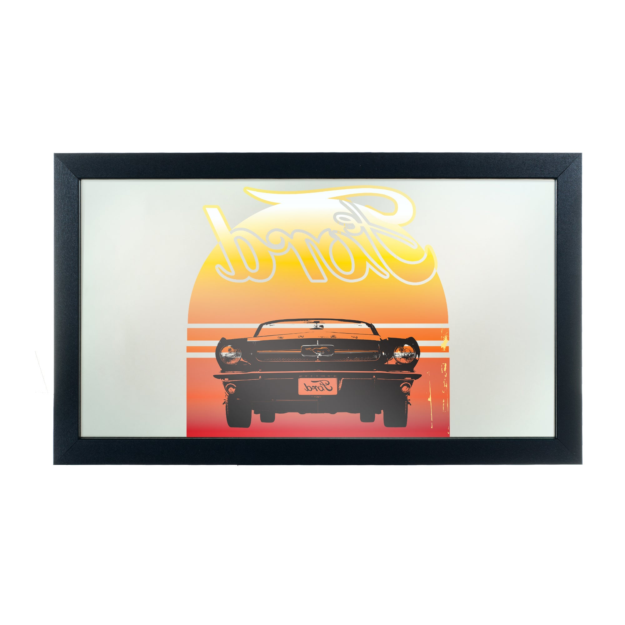 Orange Framed Wall Mirrors Pertaining To Most Current Ford Framed Logo Mirror – Mustang – Yellow/orange/black – A/n (View 4 of 20)