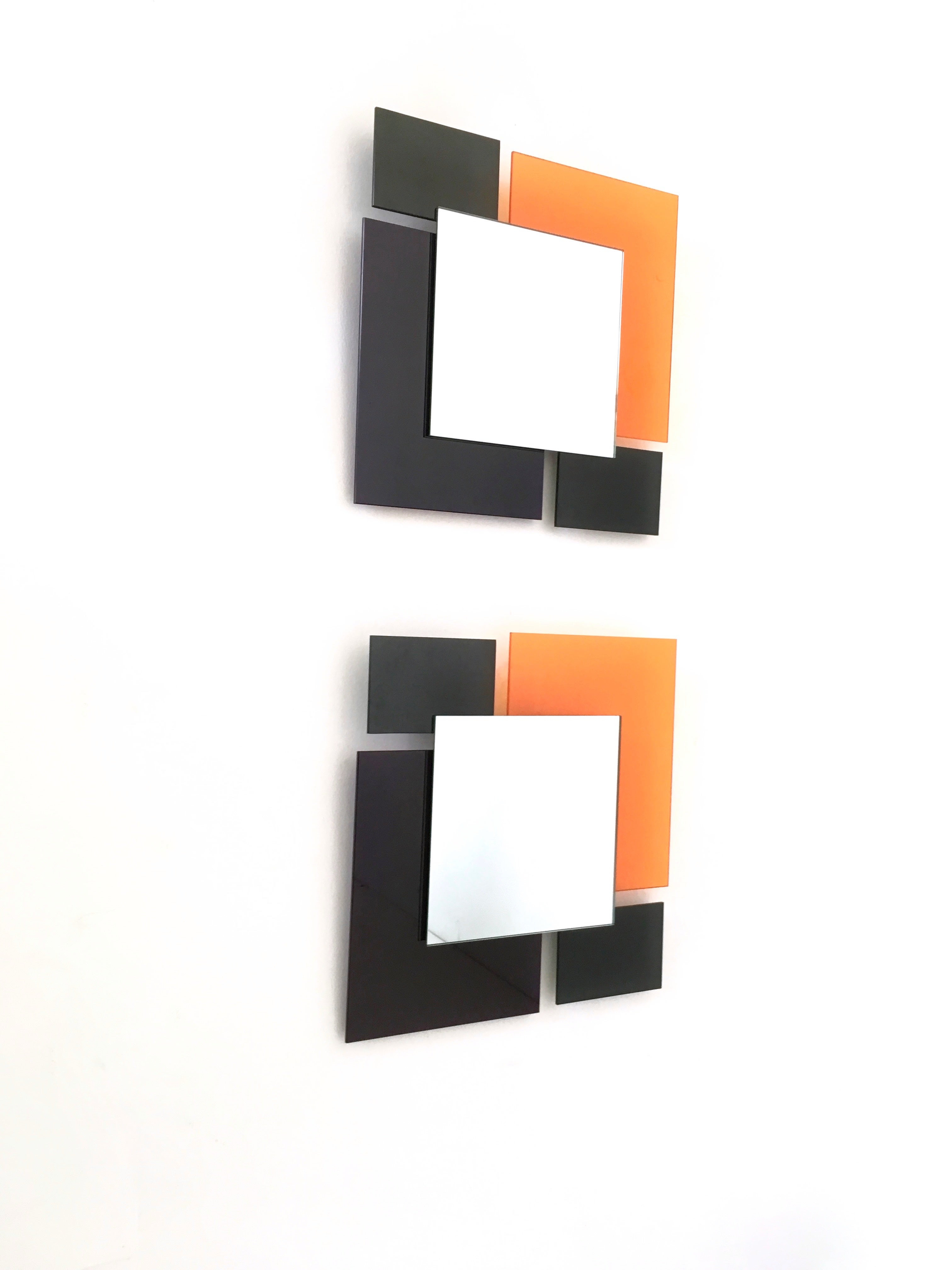 Orange Wall Mirrors In Favorite Pair Of Black And Orange Wall Mirrors In The Style Of Ettore Sottsass, 1980S (View 12 of 20)