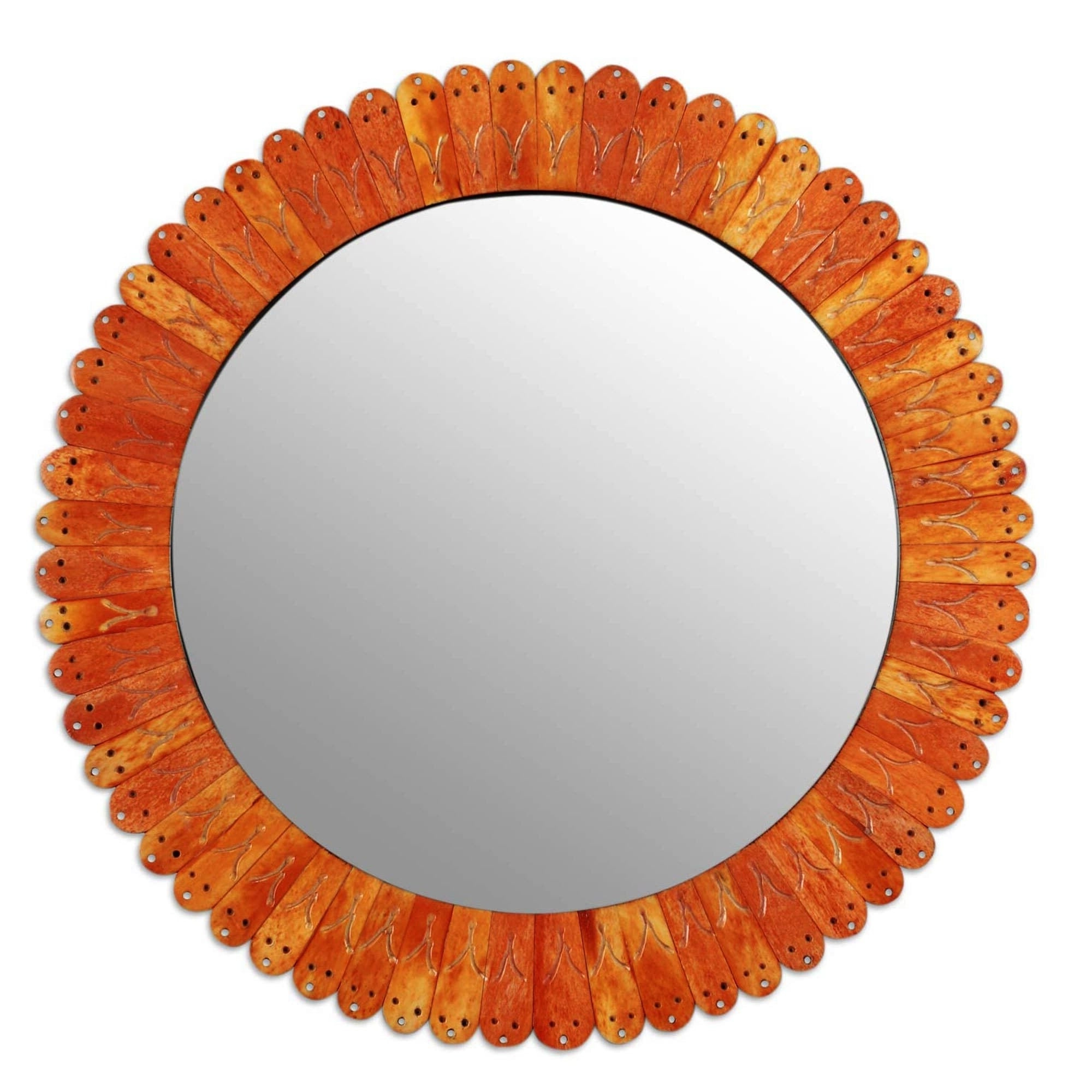 Orange Wall Mirrors Within Latest Handmade Bone Glass 'sunset In Moradabad' Wall Mirror (India) – Orange (View 13 of 20)