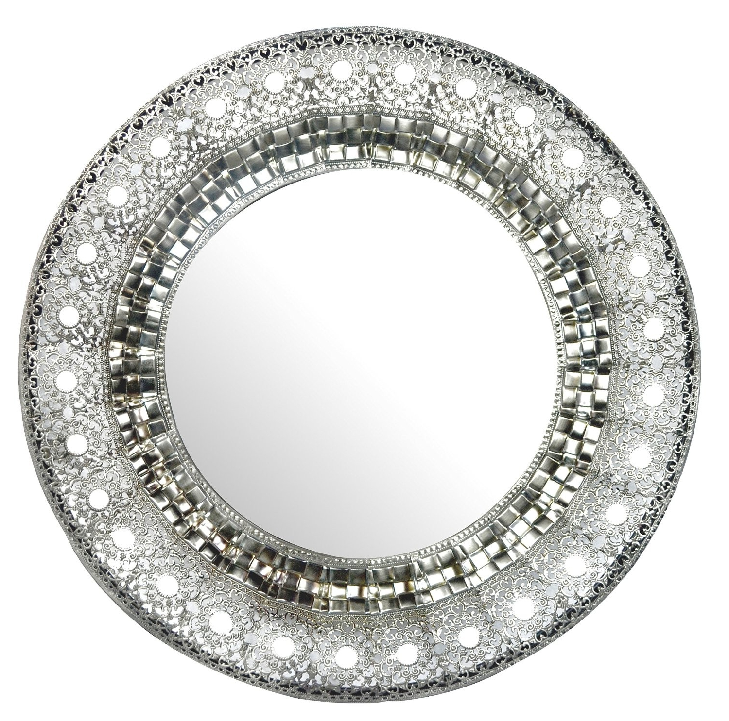 Oriental Round Silver Metal Beveled Wall Mirror, Decorative Mirror For Most Recent Round Beveled Wall Mirrors (View 16 of 20)