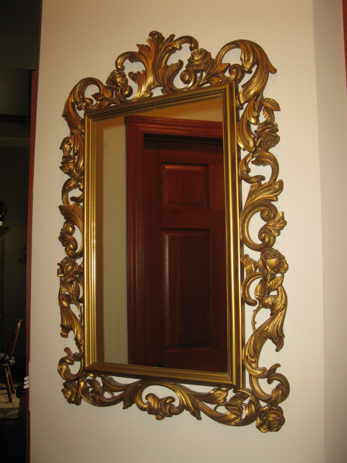 Ornate Homco Wall Mirror – Large Gold Plastic Resin For Famous Large Plastic Wall Mirrors (View 3 of 20)