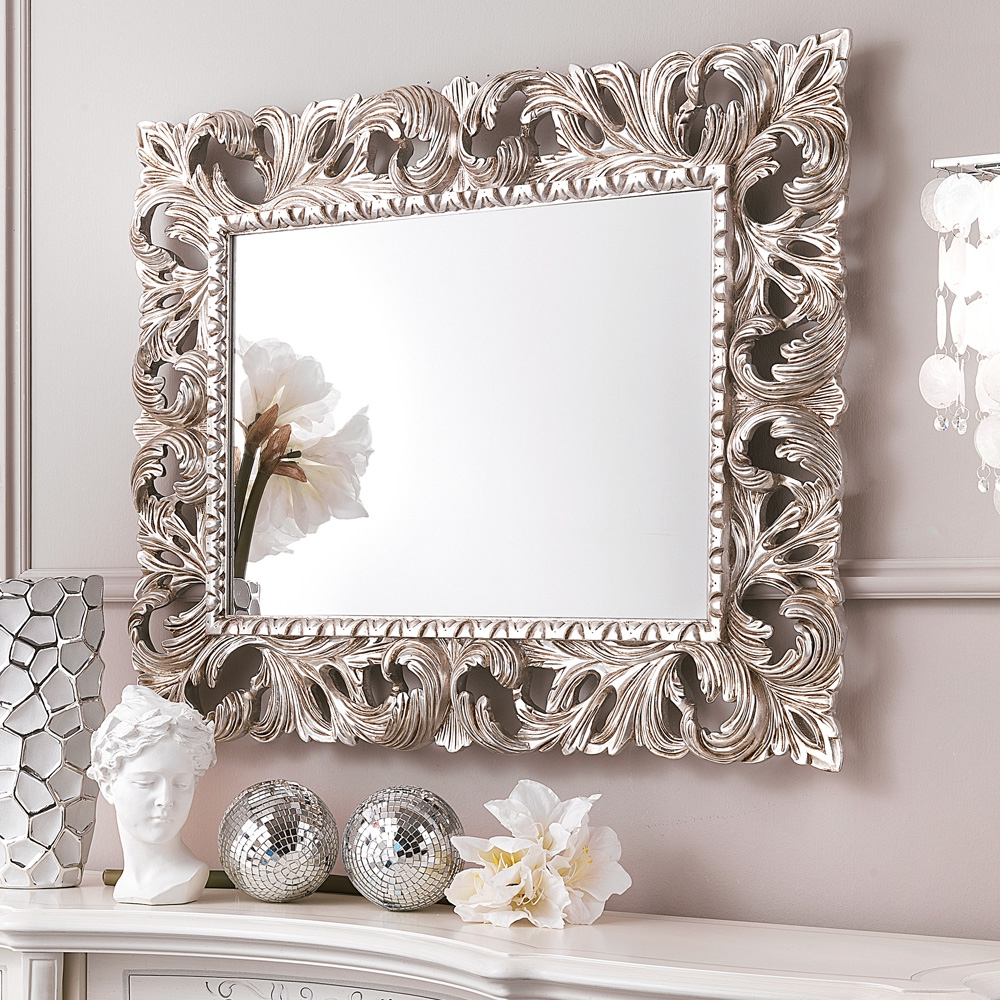 Ornate Silver Bathroom Mirror • Bathroom Mirrors And Wall Regarding Famous Ornate Wall Mirrors (View 7 of 20)
