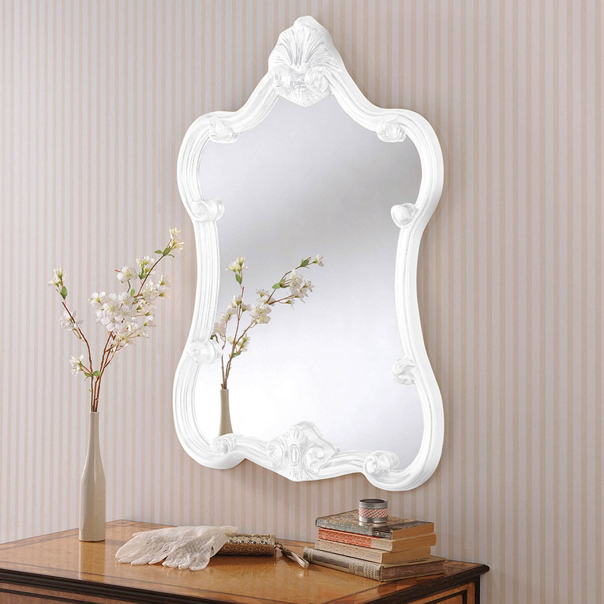 Ornate Wall Mirrors Intended For 2020 Decorative White Ornate Wall Mirror (View 19 of 20)