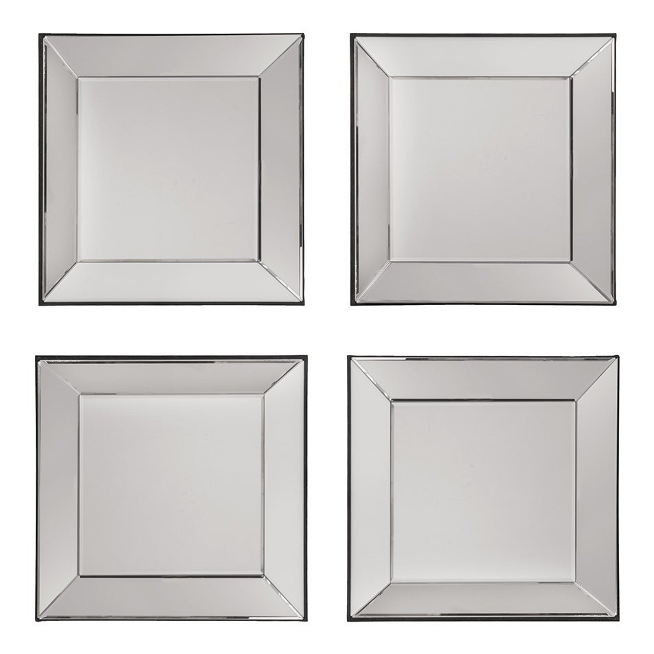 Osp Home Furnishings Decorative Square Wall Mirrors (set Of 4) – Silver – A/n For Trendy Wall Mirror Sets Of (View 2 of 20)