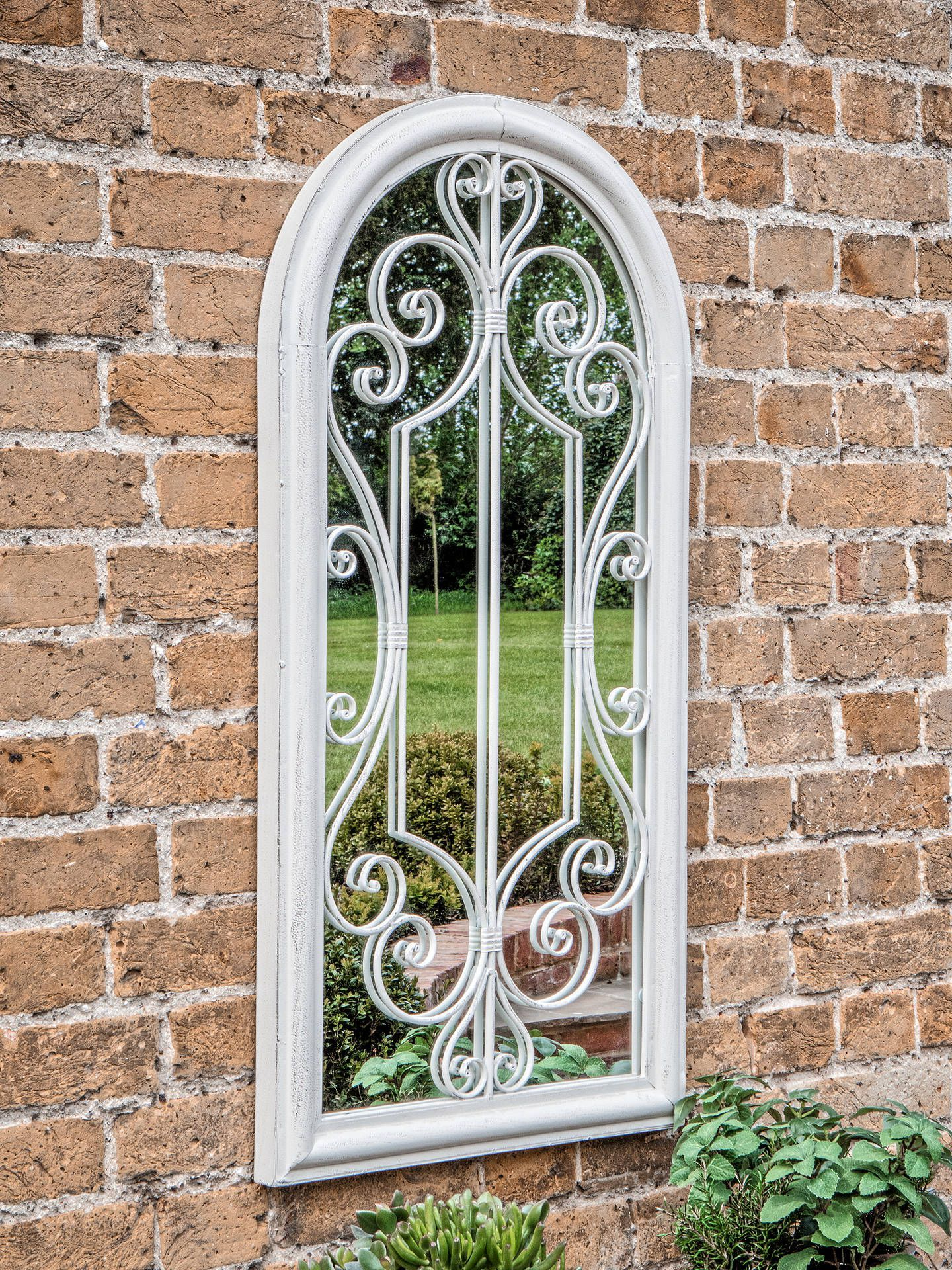 Outdoor Garden Wall Mirrors Within Well Known Fleura Outdoor Garden Wall Ornate Arched Mirror, (View 6 of 20)