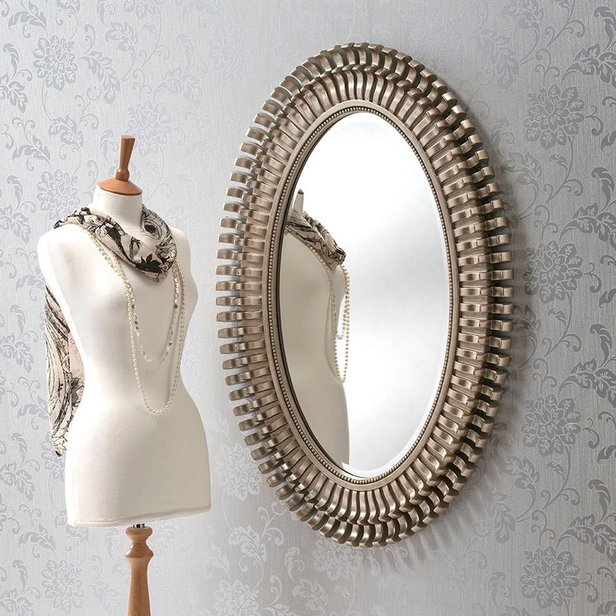 Oval Contemporary Antique Silver Wall Mirror Throughout 2019 Antique Silver Wall Mirrors (Gallery 18 of 20)