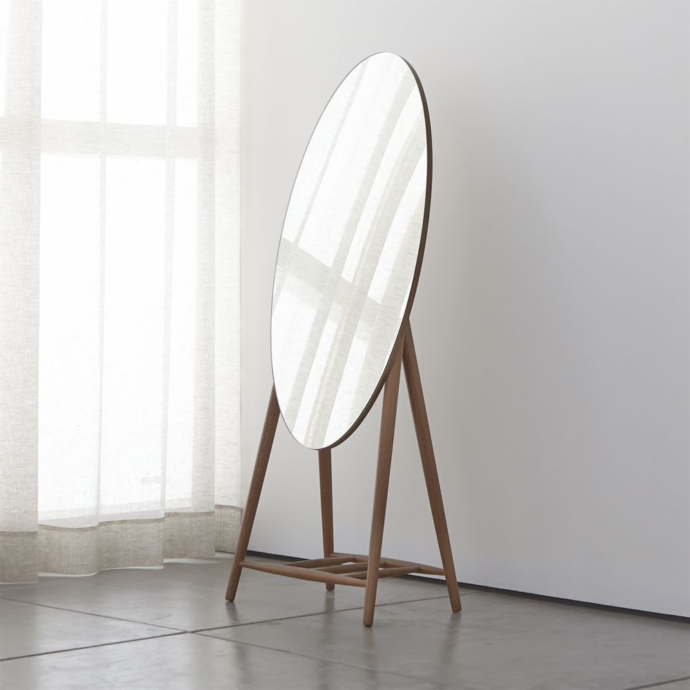 Oval Full Length Wall Mirrors Intended For Preferred Luxley Oval Floor Mirror – Crate And Barrel (View 8 of 20)