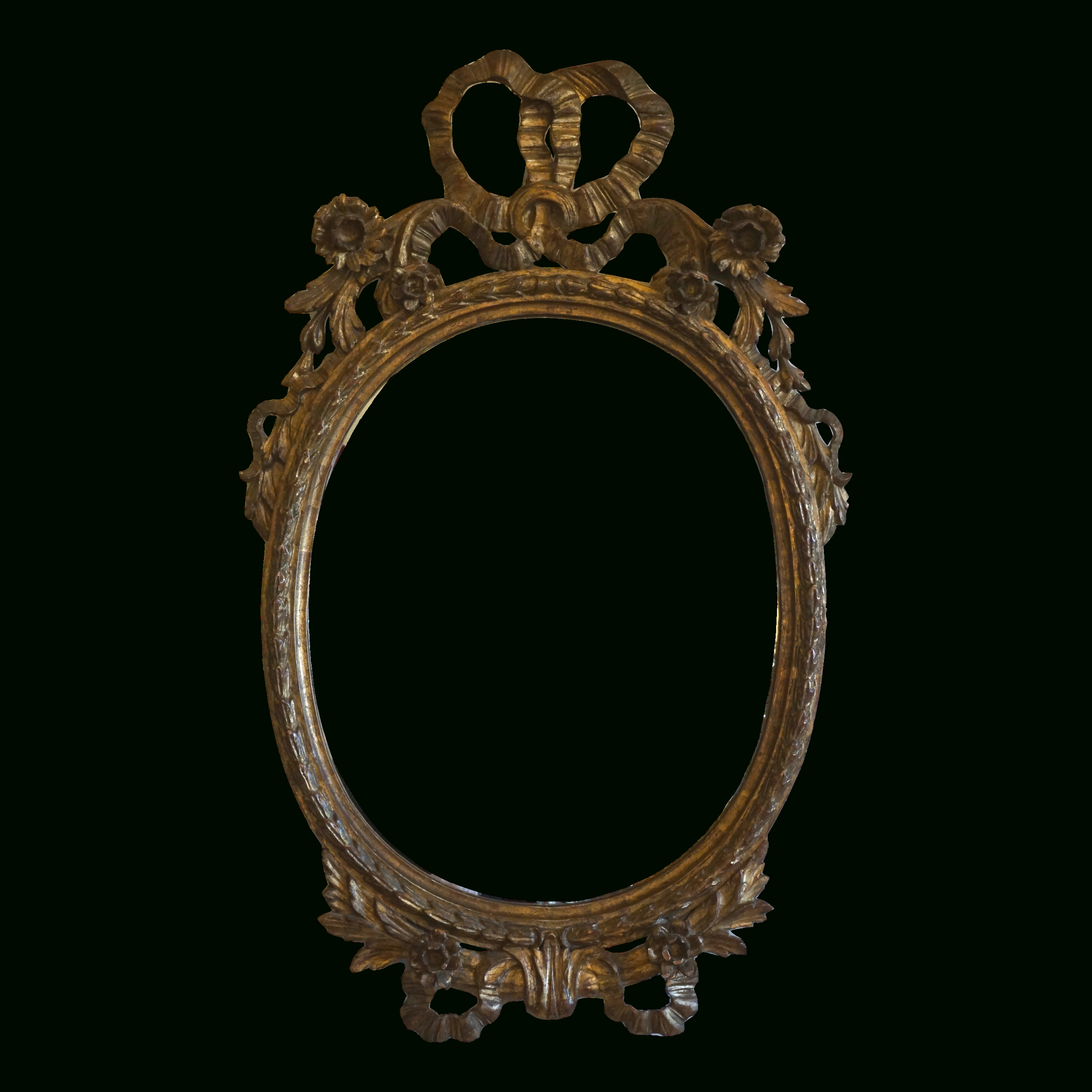 Oval Metallic Accent Mirrors In Most Current Antique Hand Carved Italian Floral Bow Oval Mirror Milch & Sons (View 18 of 20)