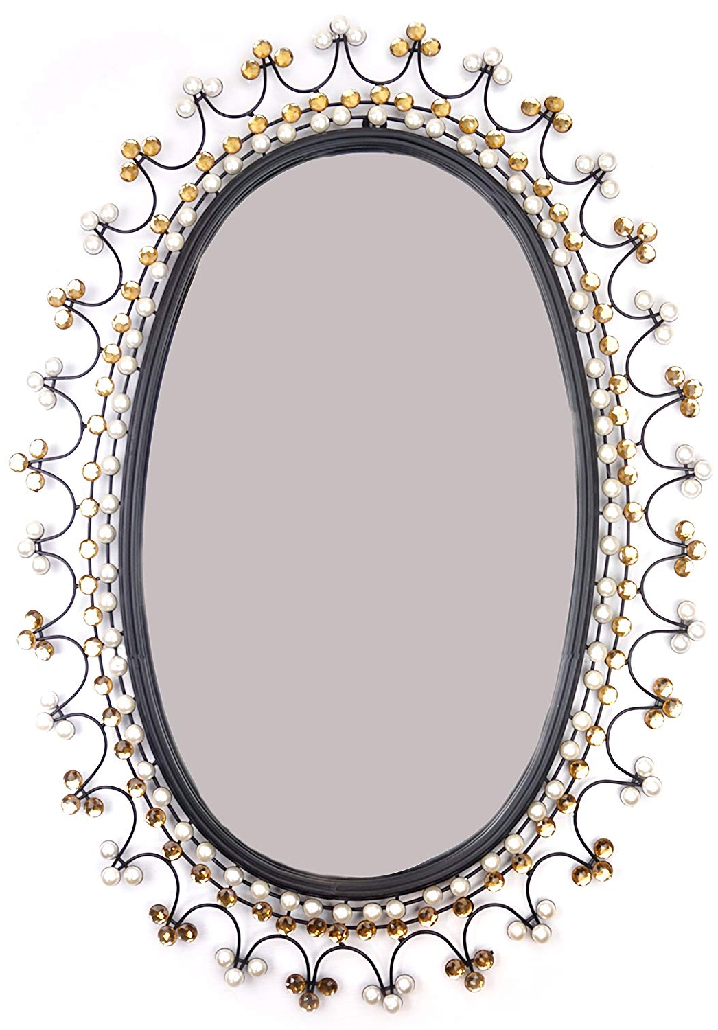 "Oval Metallic Accent Mirrors Throughout Most Recently Released Amazon: Lulu Decor, Oval Metal Beveled Wall Mirror 33"" X (View 11 of 20)"