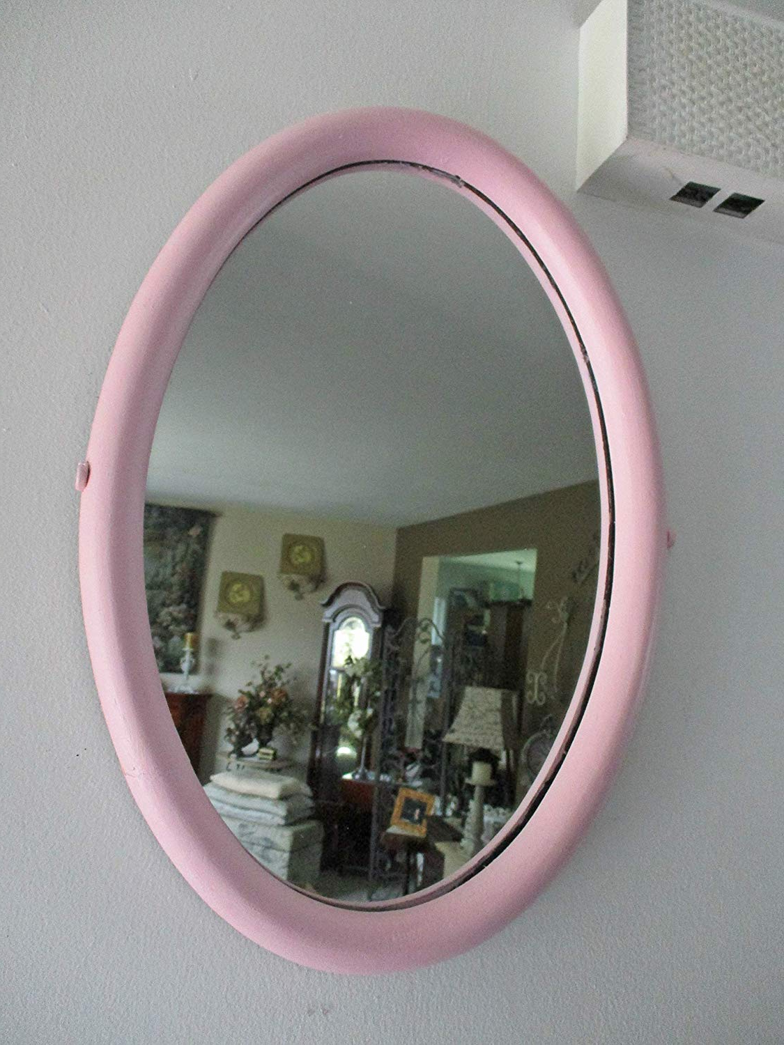 Oval Mirror, Pink Wall Mirror, Upcycled Vintage Mirror, Shabby Pink, Nursery Room, Girls Room, Children's Room, Playroom Decor,wall Decor, Wall Within 2020 Girls Pink Wall Mirrors (View 3 of 20)