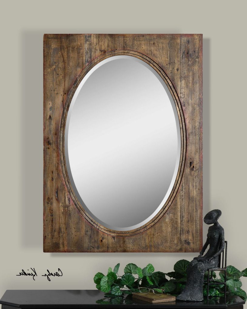 Oval Mirror With Distressed Wood Natural Hickory Frame – Faulkton In Recent Rectangle Antique Galvanized Metal Accent Mirrors (View 10 of 20)