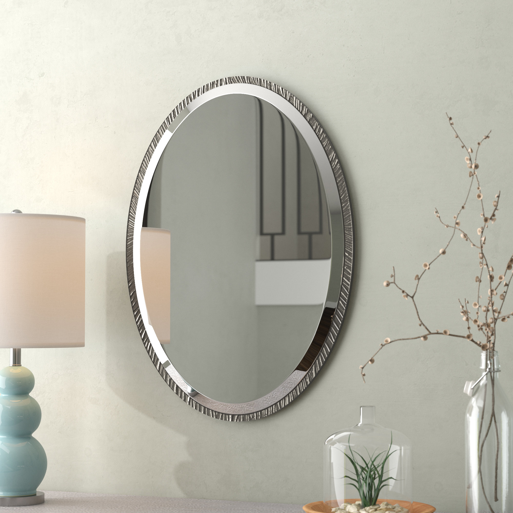 Oval Polished Nickel Wall Mirror In Best And Newest Glen View Beaded Oval Traditional Accent Mirrors (View 15 of 20)