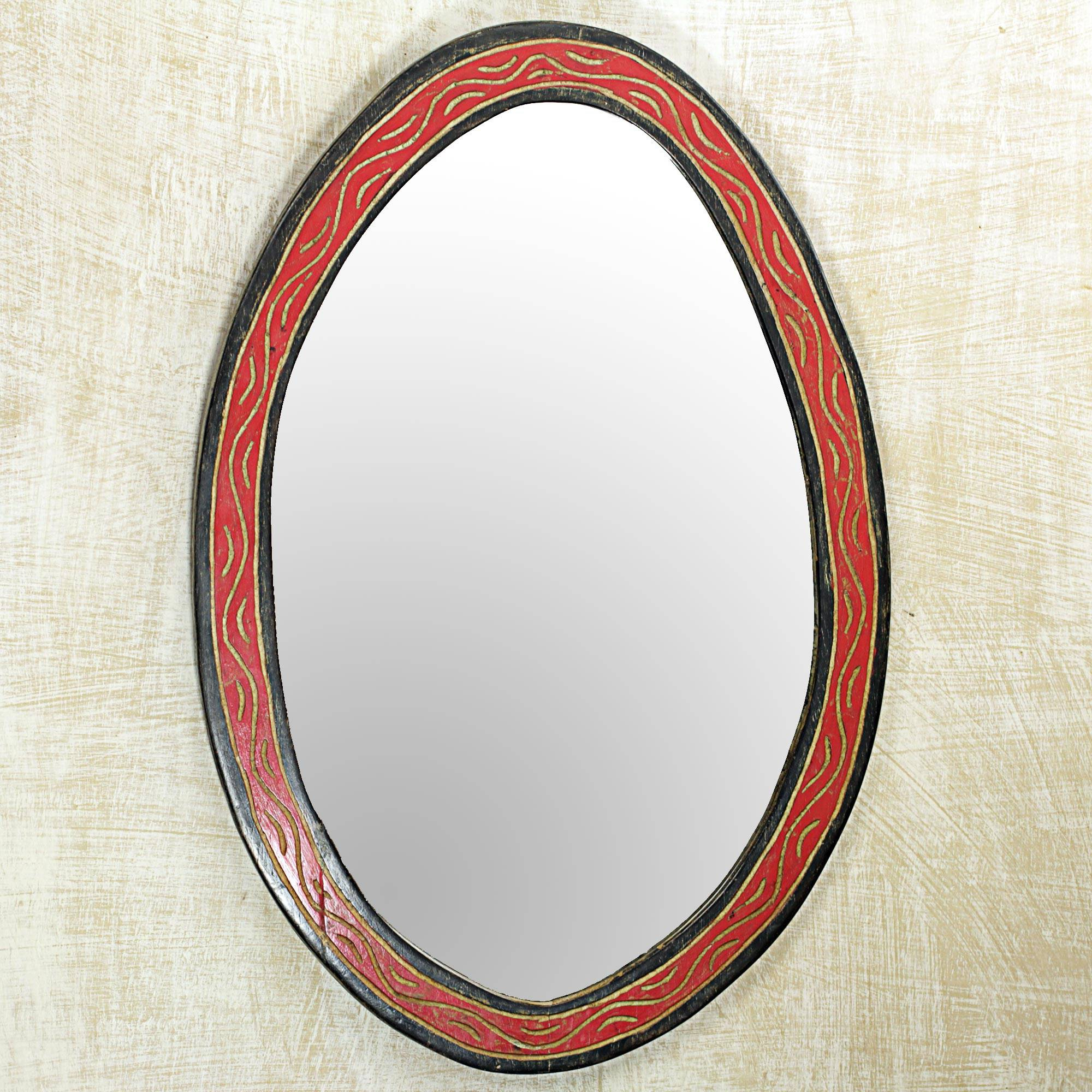 Oval Shaped Wall Mirrors Throughout Trendy Hand Made Oval Shaped Wood Wall Mirror From West Africa, 'nkosua' (View 11 of 20)