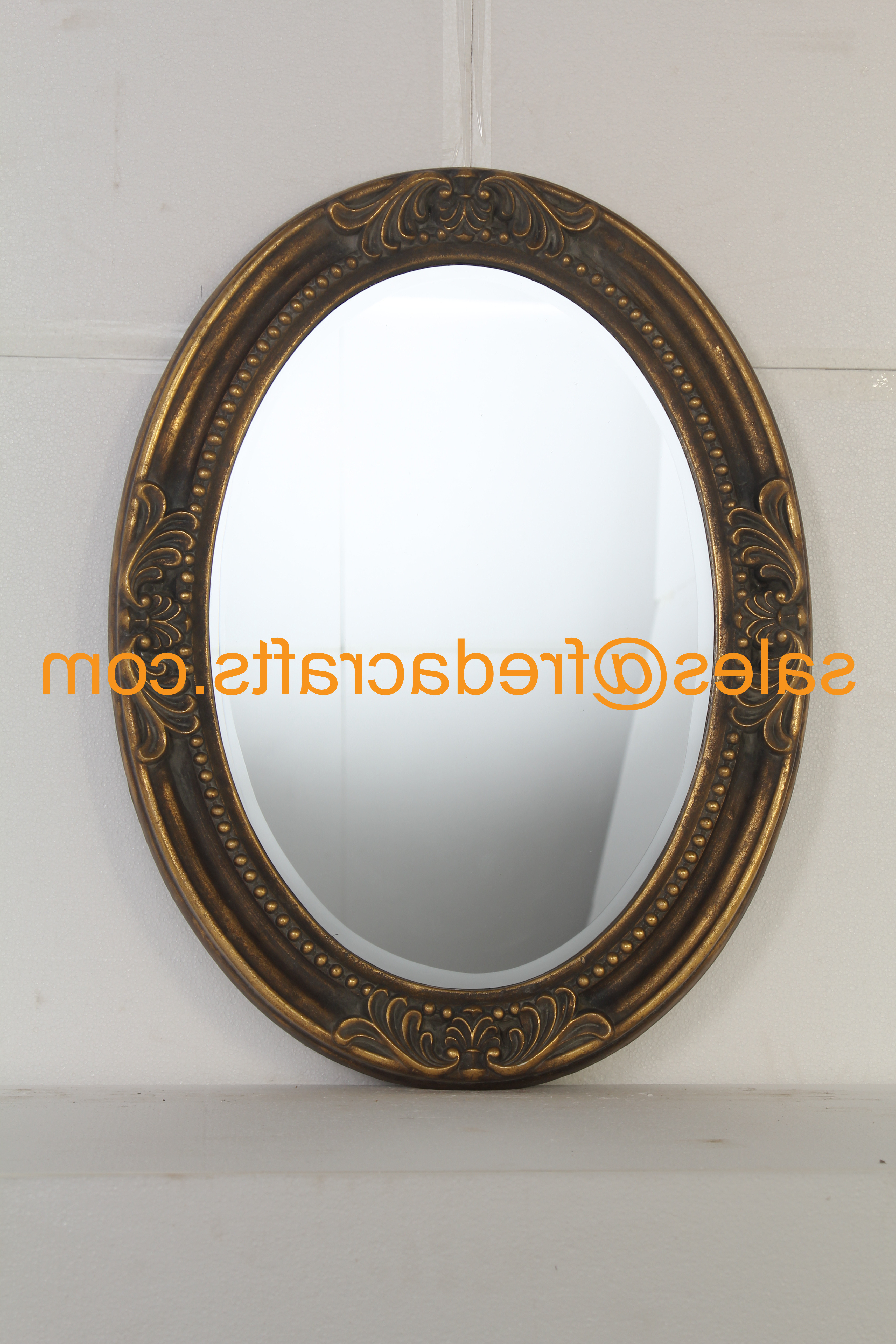 Oval Shaped Wall Mirrors With Popular Buy Antique Gold Finish Pu Framed Oval Shaped Wall Mirror (View 12 of 20)