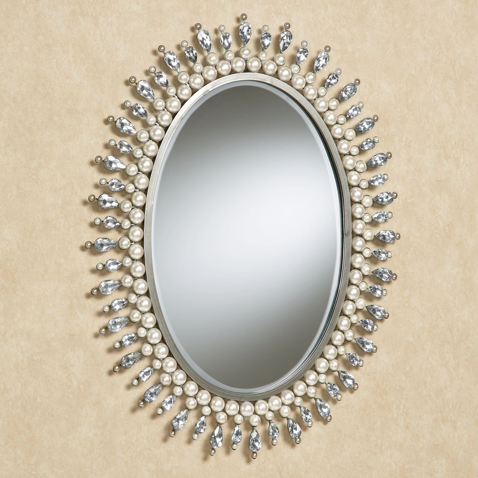Oval Wall Mirrors Regarding Famous Giselle Pearl And Gem Oval Wall Mirror (View 5 of 20)