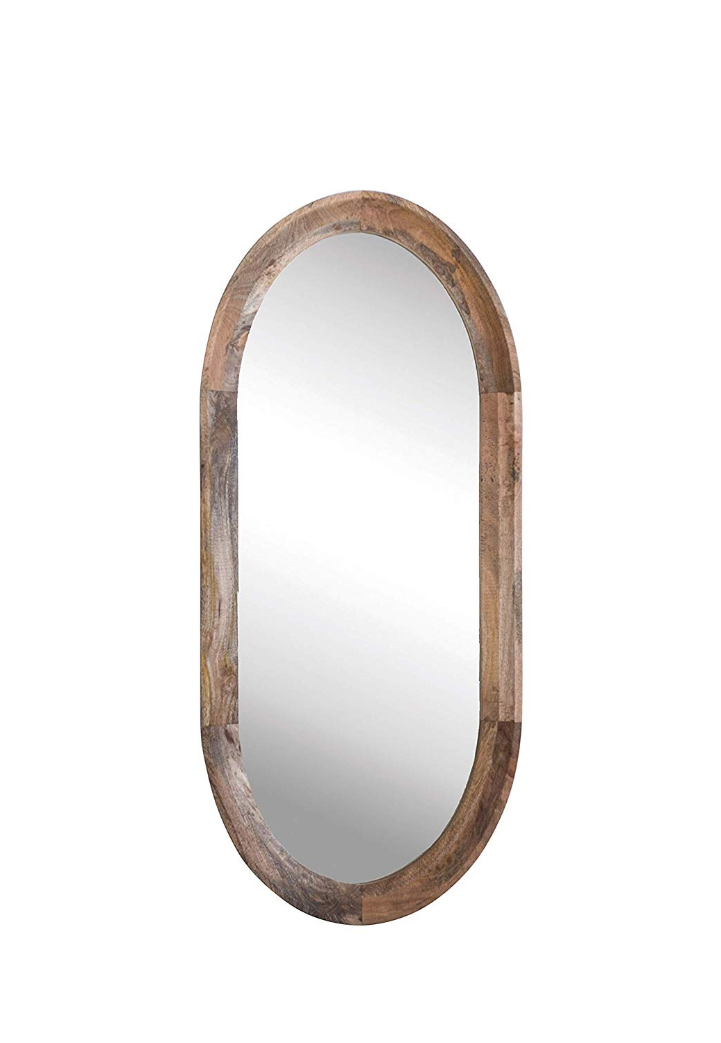 Oval Wood Wall Mirrors With Popular Creative Co Op Oval Wall Mirror With Mango Wood Frame (View 10 of 20)