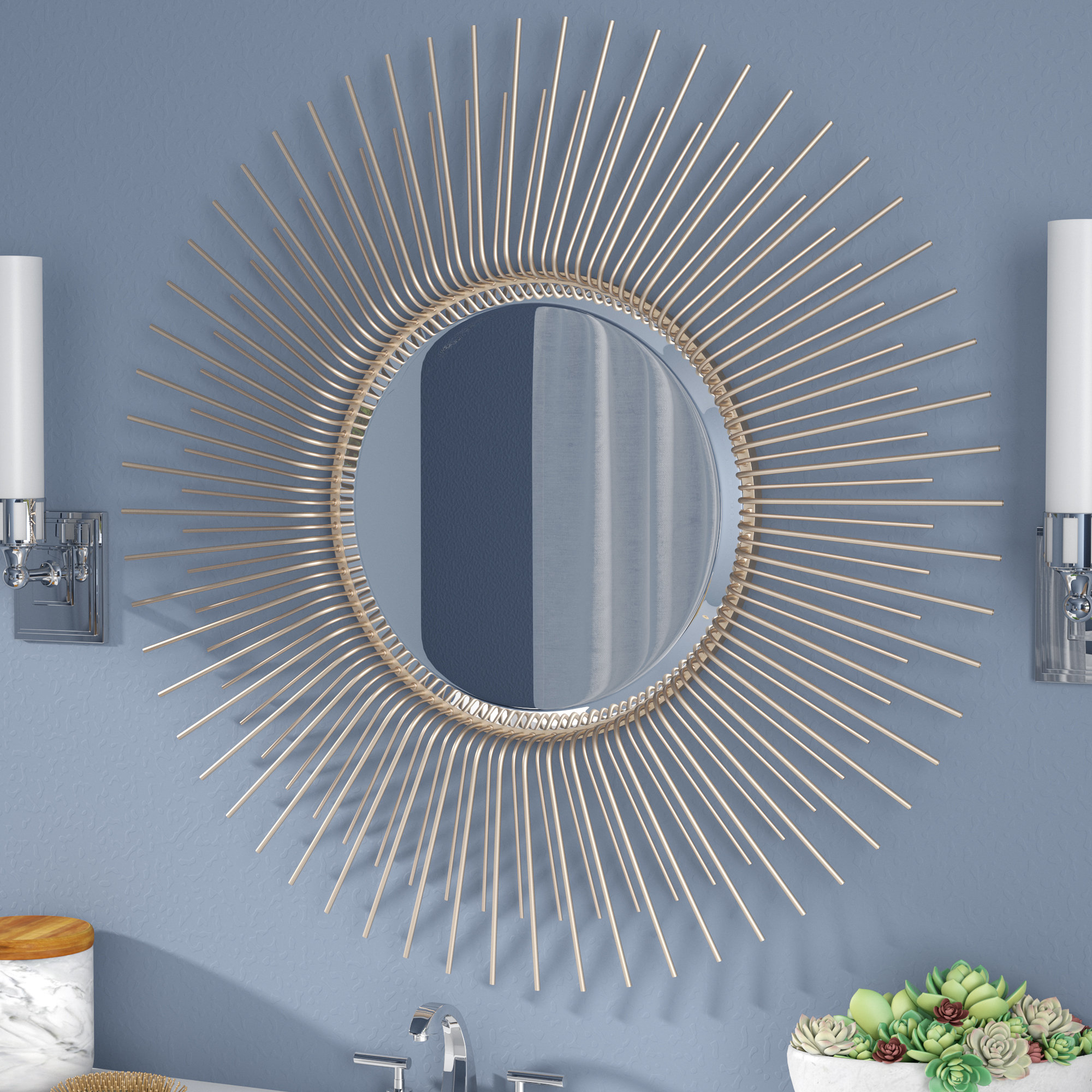 Oversized Sunburst Wood Frame Accent Mirror With Fashionable Estrela Modern Sunburst Metal Wall Mirrors (View 17 of 20)