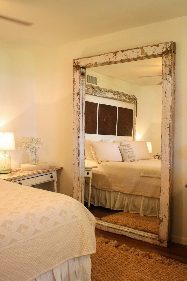 Oversized Wall Mirror With Distressed Frame (View 16 of 20)