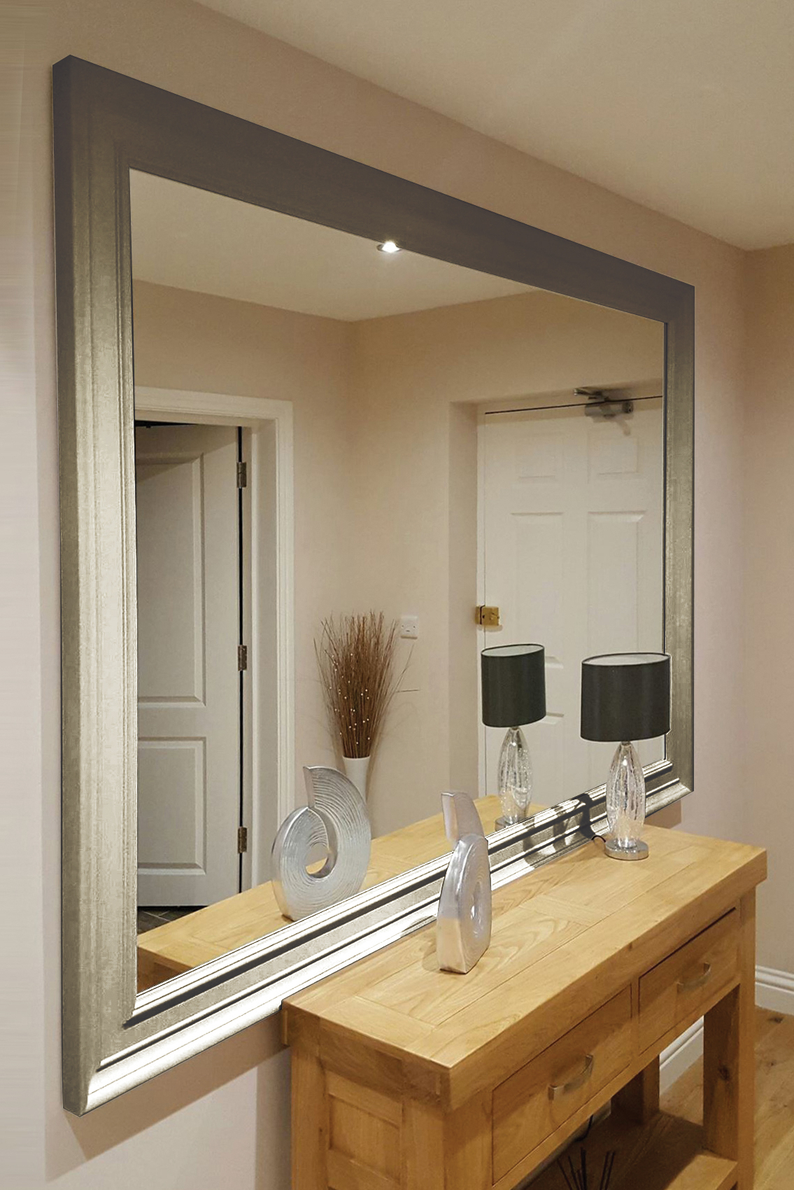 Oxford Extra Large Silver Mirror (2 Sizes & Bespoke) With Trendy Large Silver Wall Mirrors (View 15 of 20)