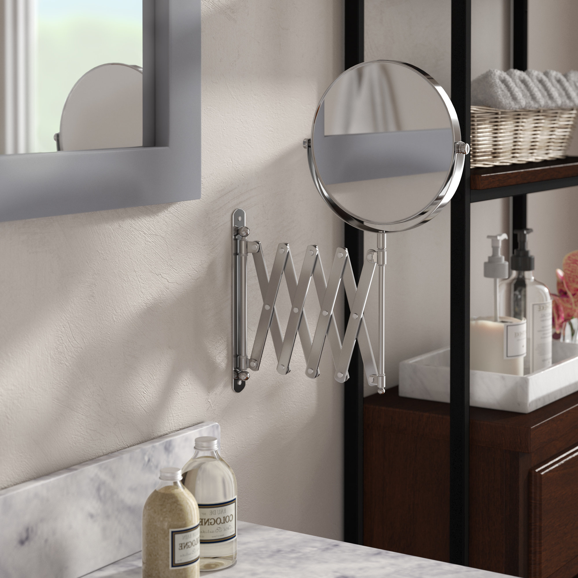 """Ozment 13.8"""" H X 23.75"""" W Extendable Wall Mount Magnifying Makeup Mirror Intended For Preferred Makeup Wall Mirrors (Gallery 10 of 20)"""