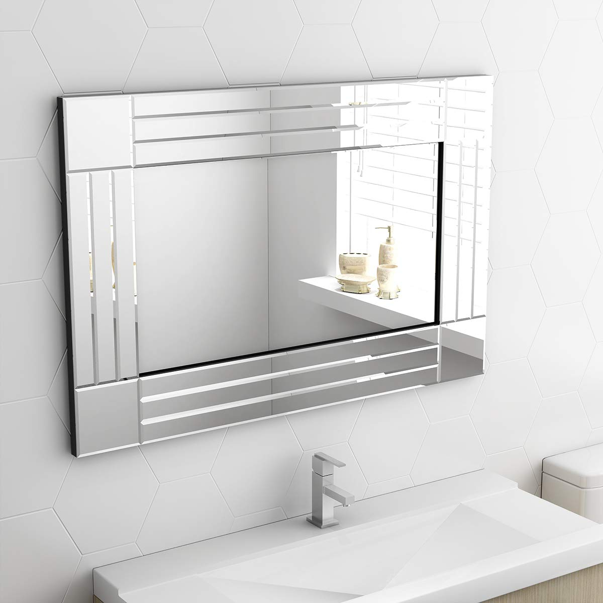 Paldin Wall Hung Mirrors, Modern Wall Hung Bathroom Mirrors Large Inside Well Liked Large Bathroom Wall Mirrors (View 5 of 20)