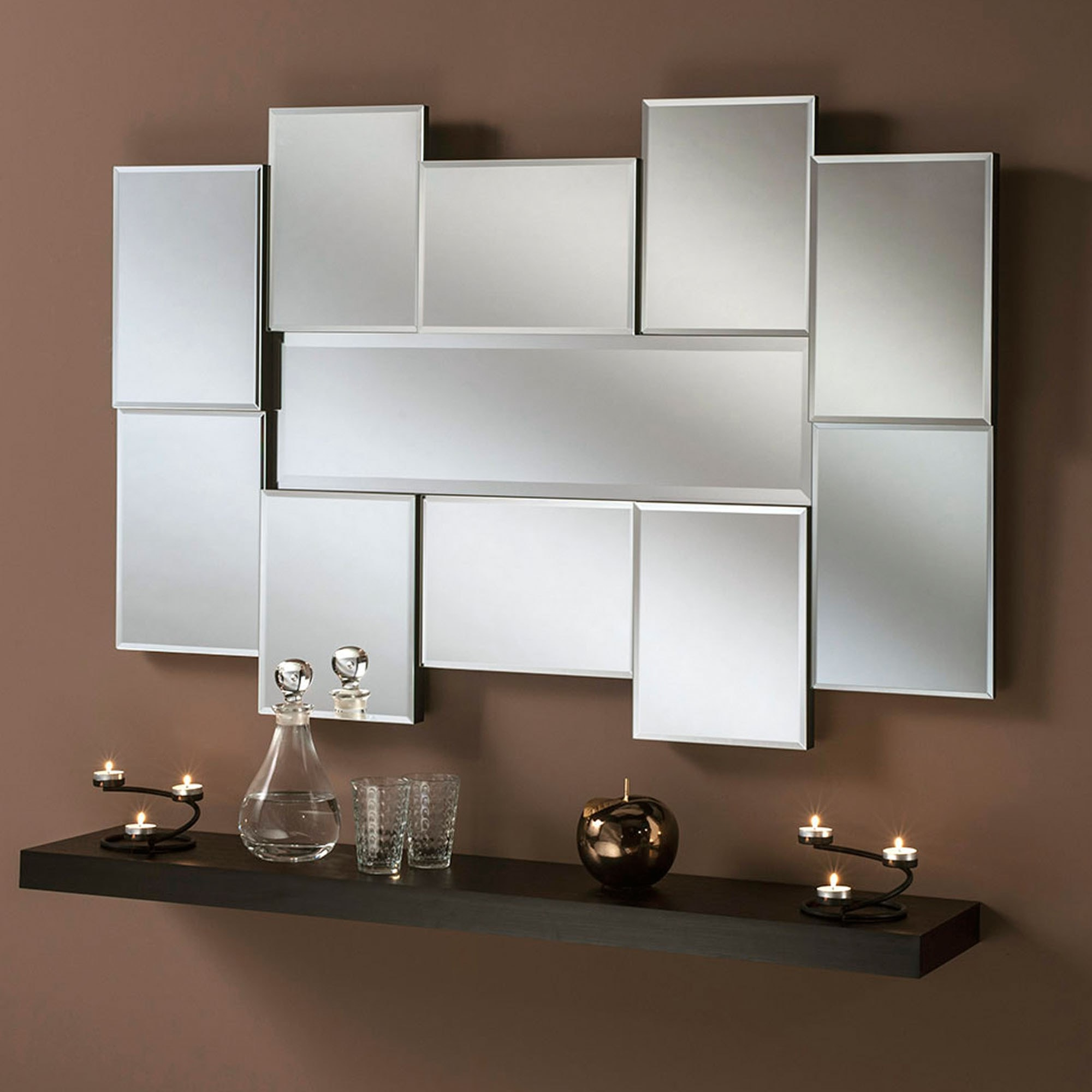 Panel Wall Mirrors With Latest Art Deco Abstract Panel Wall Mirror (View 9 of 20)