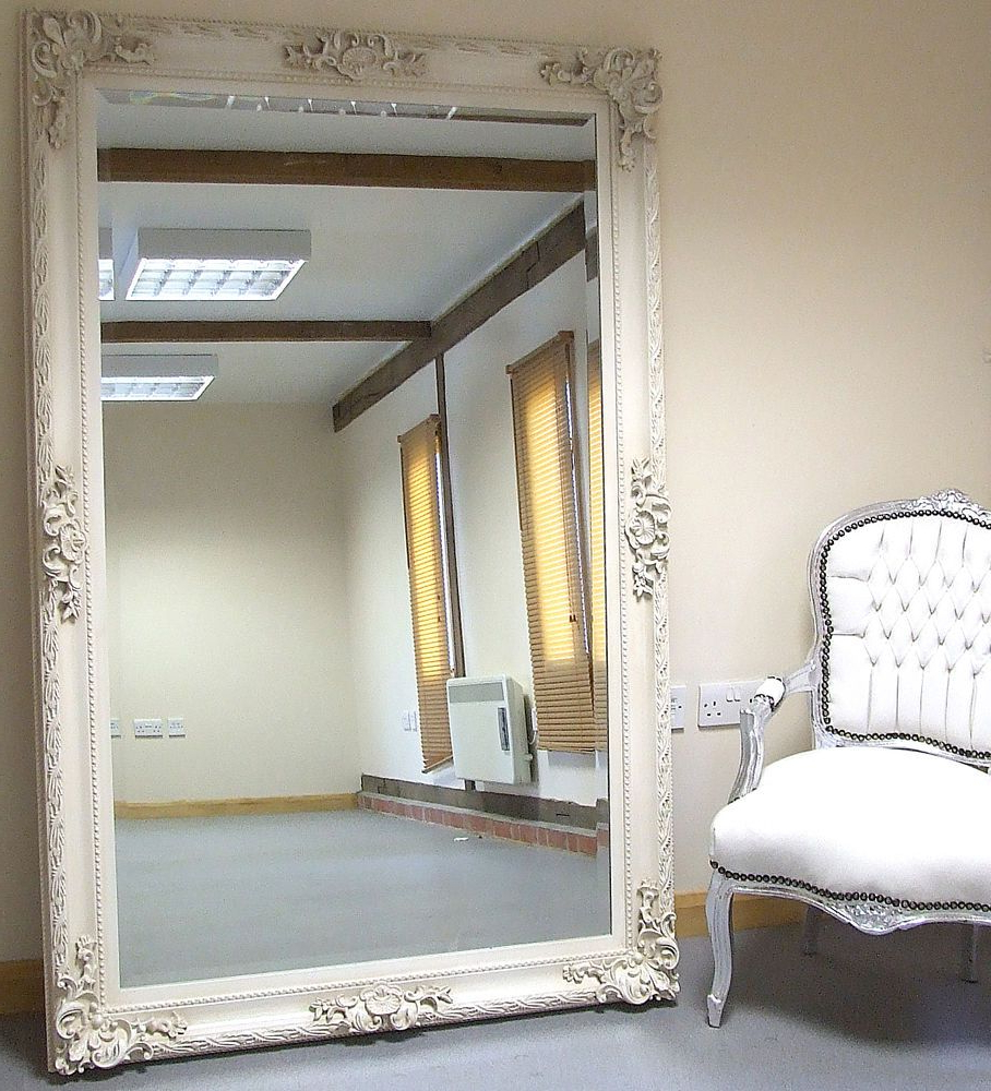 Paris Ivory Extra Large Shabby Chic Full Length Leaner Floor Mirror Within 2019 Large Leaning Wall Mirrors (View 15 of 20)