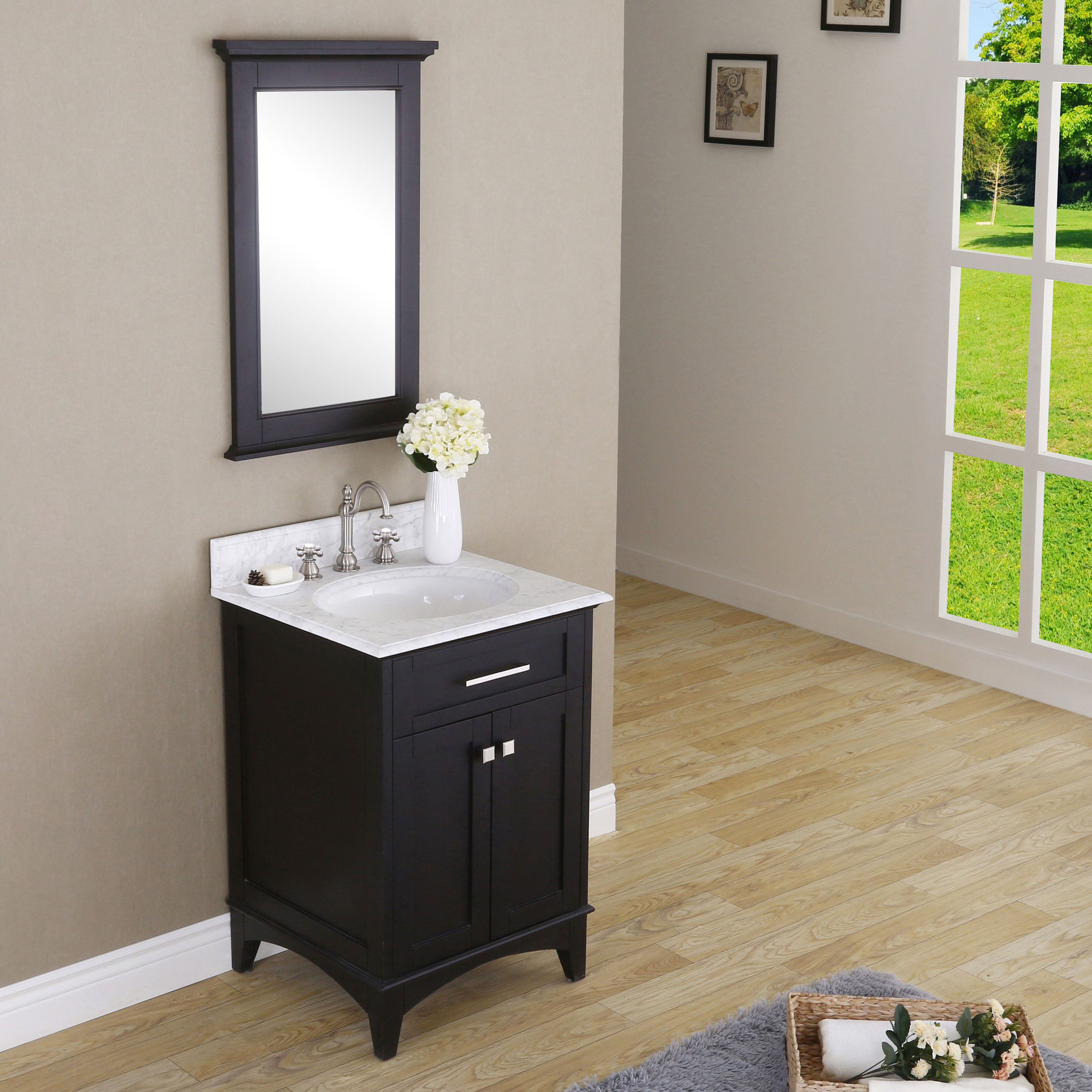 "Paton 24"" Single Bathroom Vanity Set With Mirror Inside 2019 Mexborough Bathroom/vanity Mirrors (View 19 of 20)"
