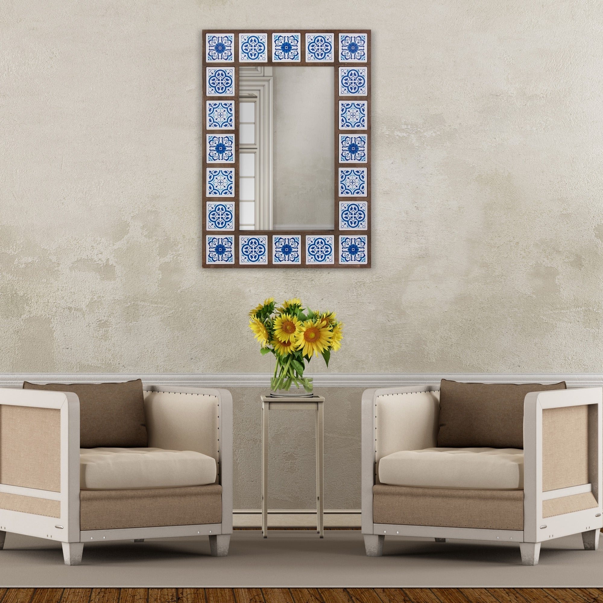 Patton Wall Decor 28X38 Indigo Moroccan Tile Framed Wall Mirror With Latest Moroccan Wall Mirrors (Gallery 13 of 20)