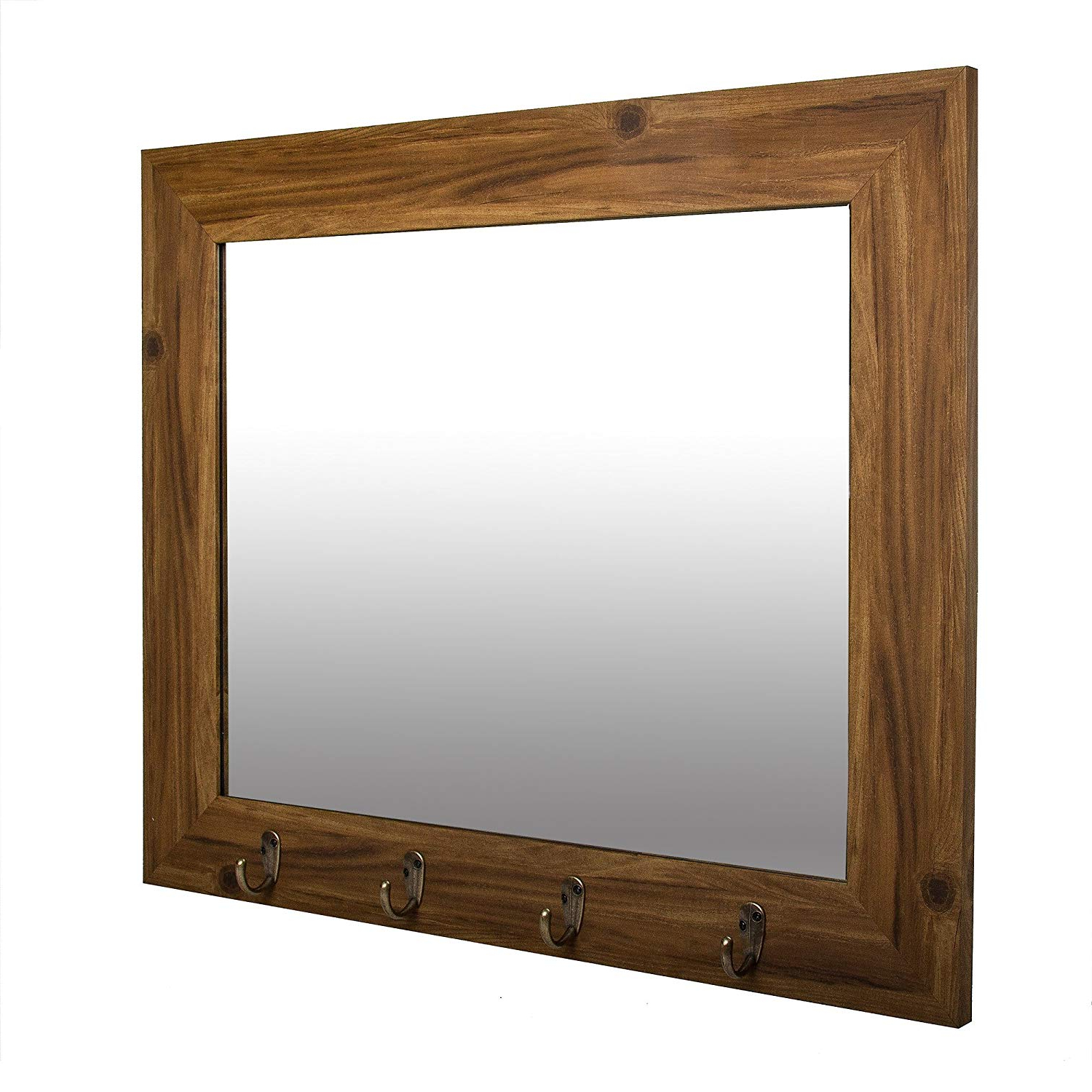 Patton Wall Decor Medium Wood Foyer Hooks Wall Mirror Within Most Current Wall Mirrors With Hooks (View 5 of 20)