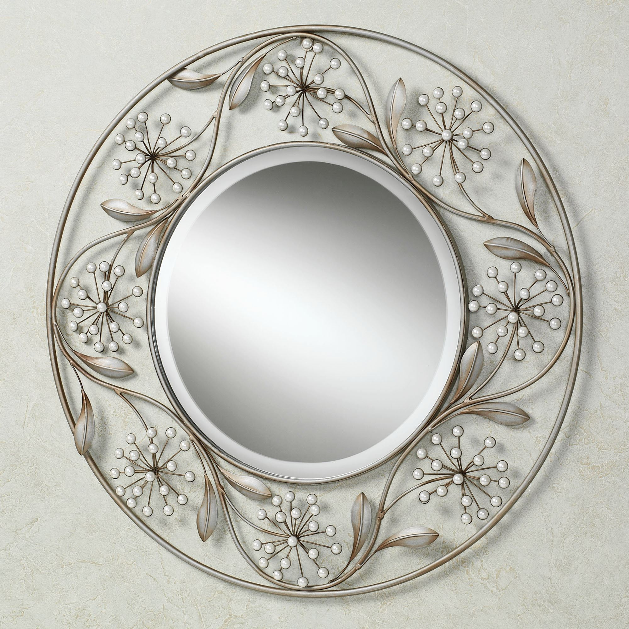 Pearlette Round Metal Wall Mirror For Latest Large Silver Wall Mirrors (View 19 of 20)