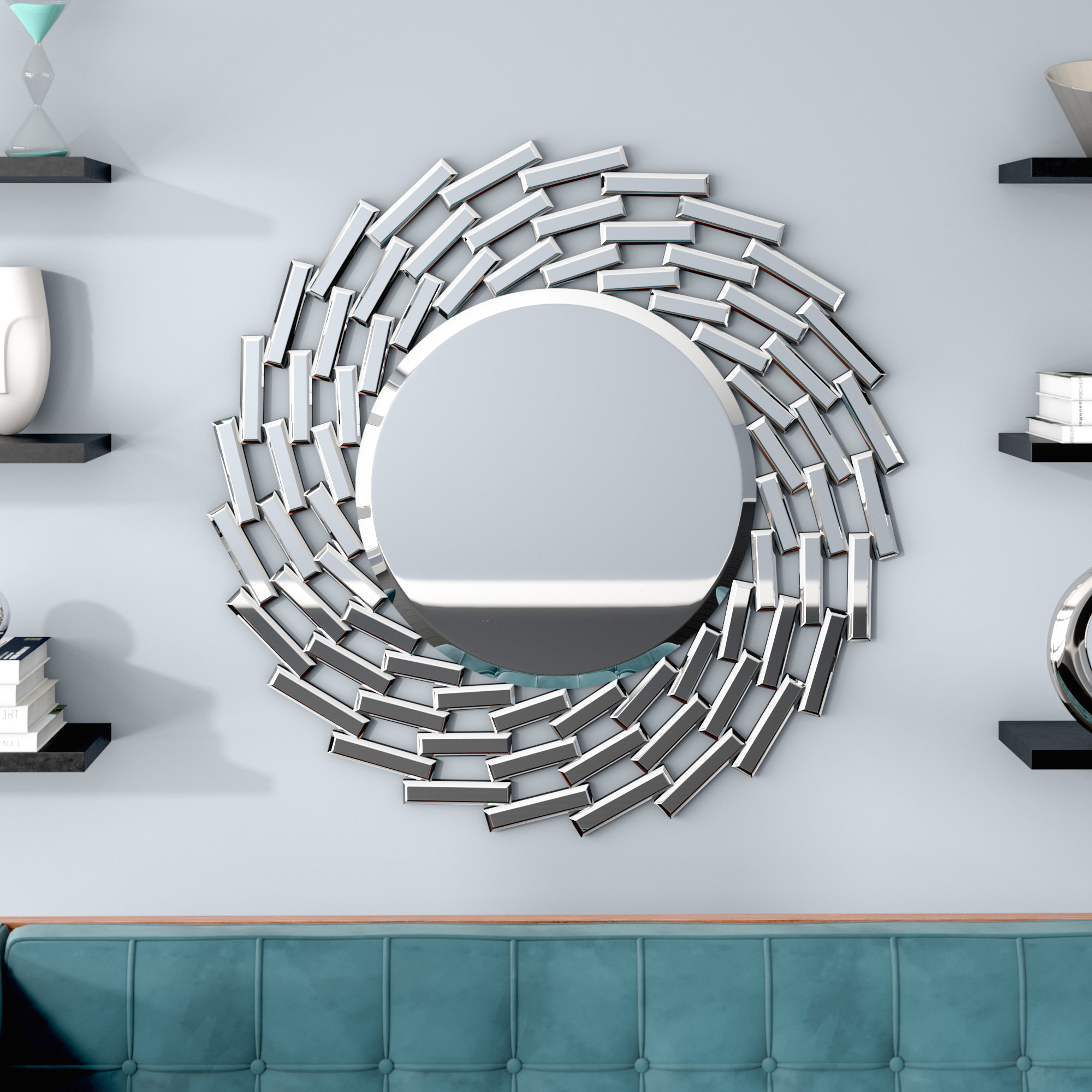 Pennsburg Rectangle Wall Mirrors Regarding Famous Pennsburg Sunburst Silver Wall Mirror (View 13 of 20)