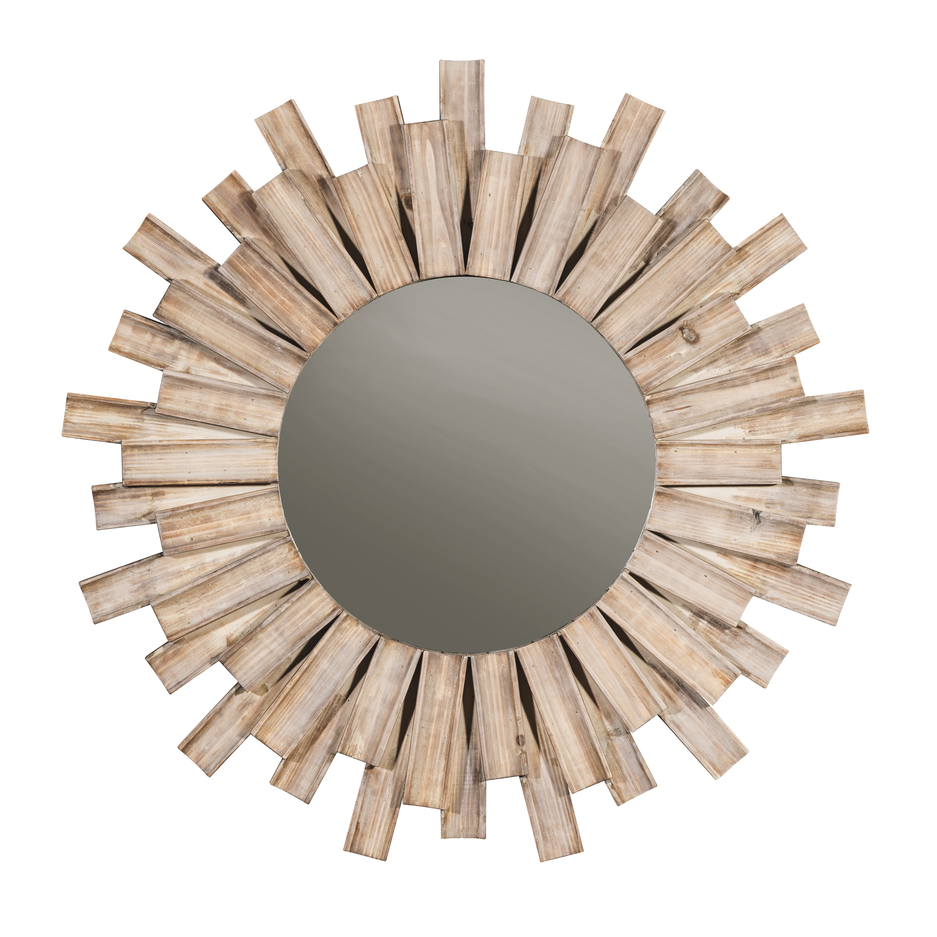 Perillo Burst Wood Accent Mirror Intended For Most Recent Josephson Starburst Glam Beveled Accent Wall Mirrors (Gallery 15 of 20)