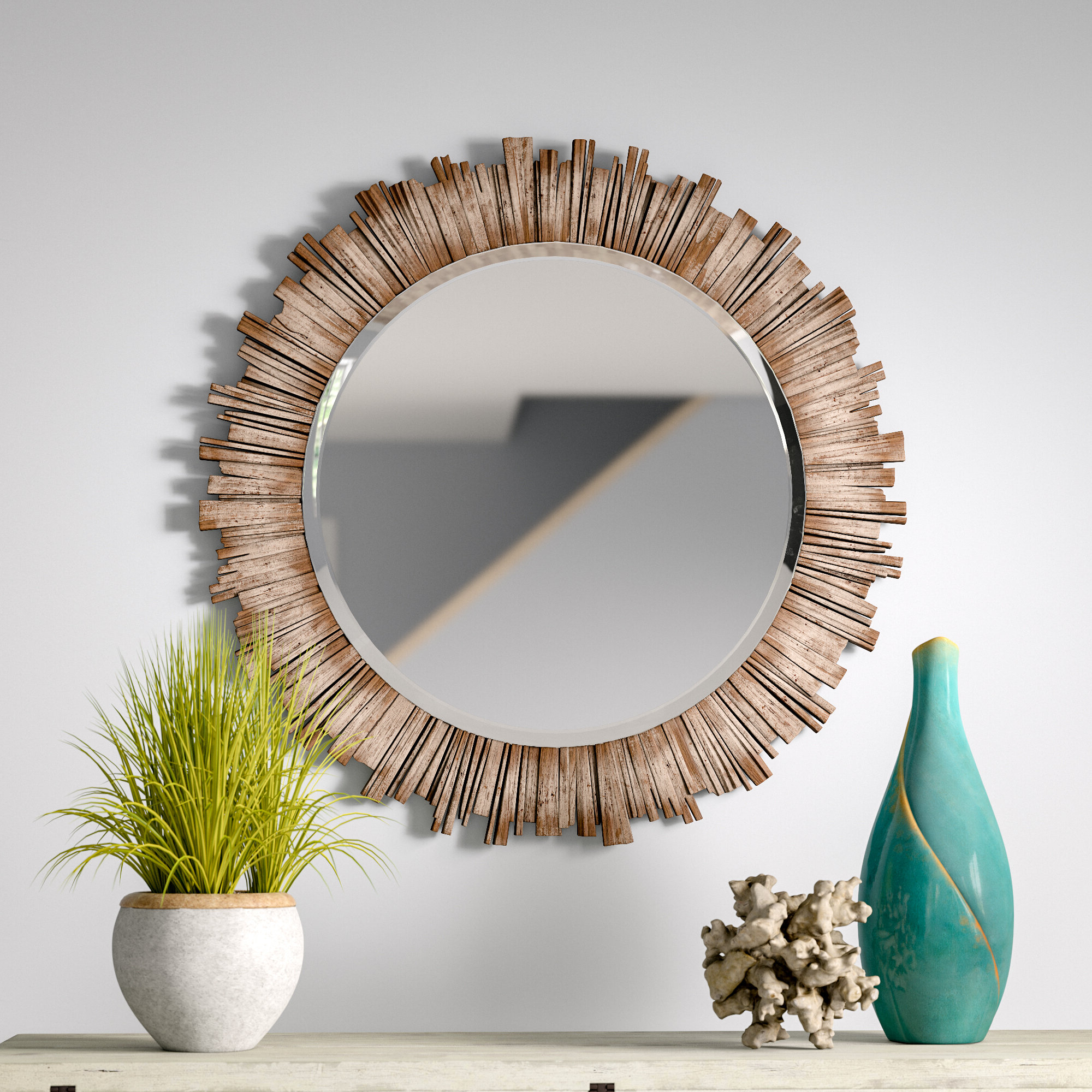 Perillo Burst Wood Accent Mirrors Inside Most Recent Raleigh Wall Mirror (View 11 of 20)