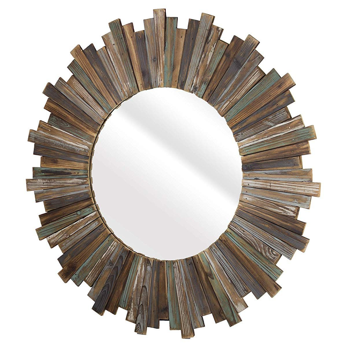 "Perillo Burst Wood Accent Mirrors Throughout Most Current Distressed Wood 36"" Round Sunburst Wall Vanity Accent Mirror (Gallery 3 of 20)"