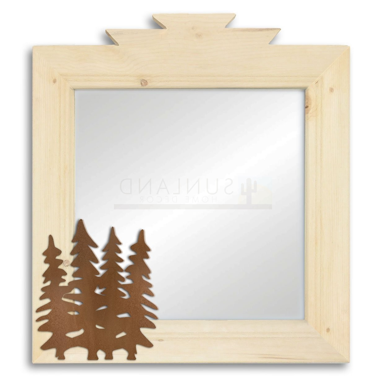 Pine Wall Mirrors With Most Recently Released 17in Pine Trees Lodge Natural Pine Decorative Wood Wall Mirror (View 9 of 20)