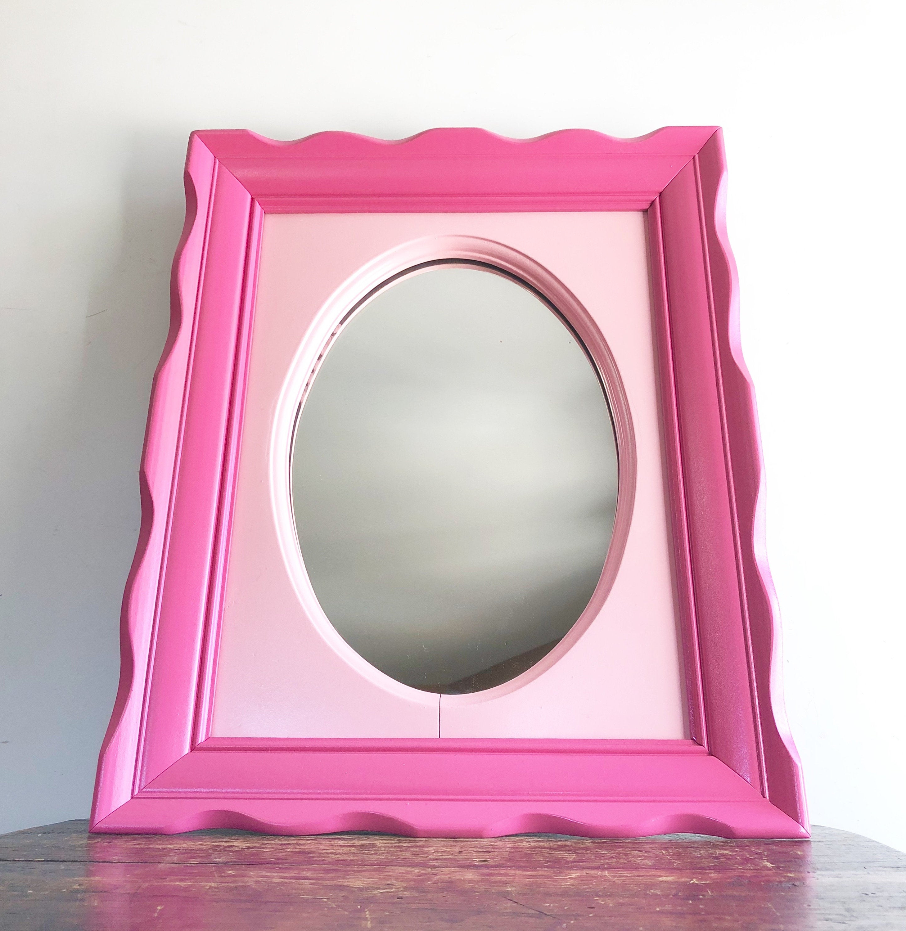 Pink Wall Mirrors Within Well Known Vintage Pink Wall Mirror, Two Tone Pink Mirror, Little Girl's Room, Nursery Decor, Baby Nursery (View 10 of 20)