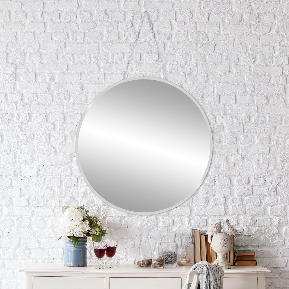 Pinnacle Beveled Hang Chain Round Silver Wall Mirror 1801 For Well Liked Round Silver Wall Mirrors (View 7 of 20)
