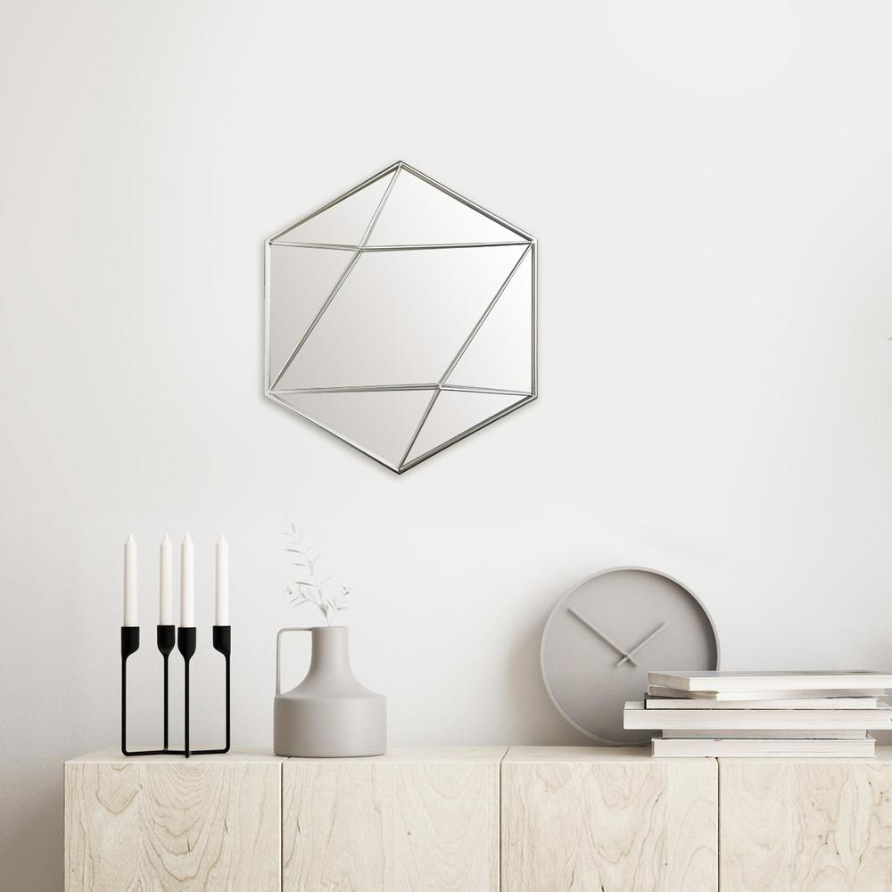 Pinnacle Hexagon Silver Decorative Mirror 1805 3789 – The Intended For Most Up To Date Hexagon Wall Mirrors (View 18 of 20)