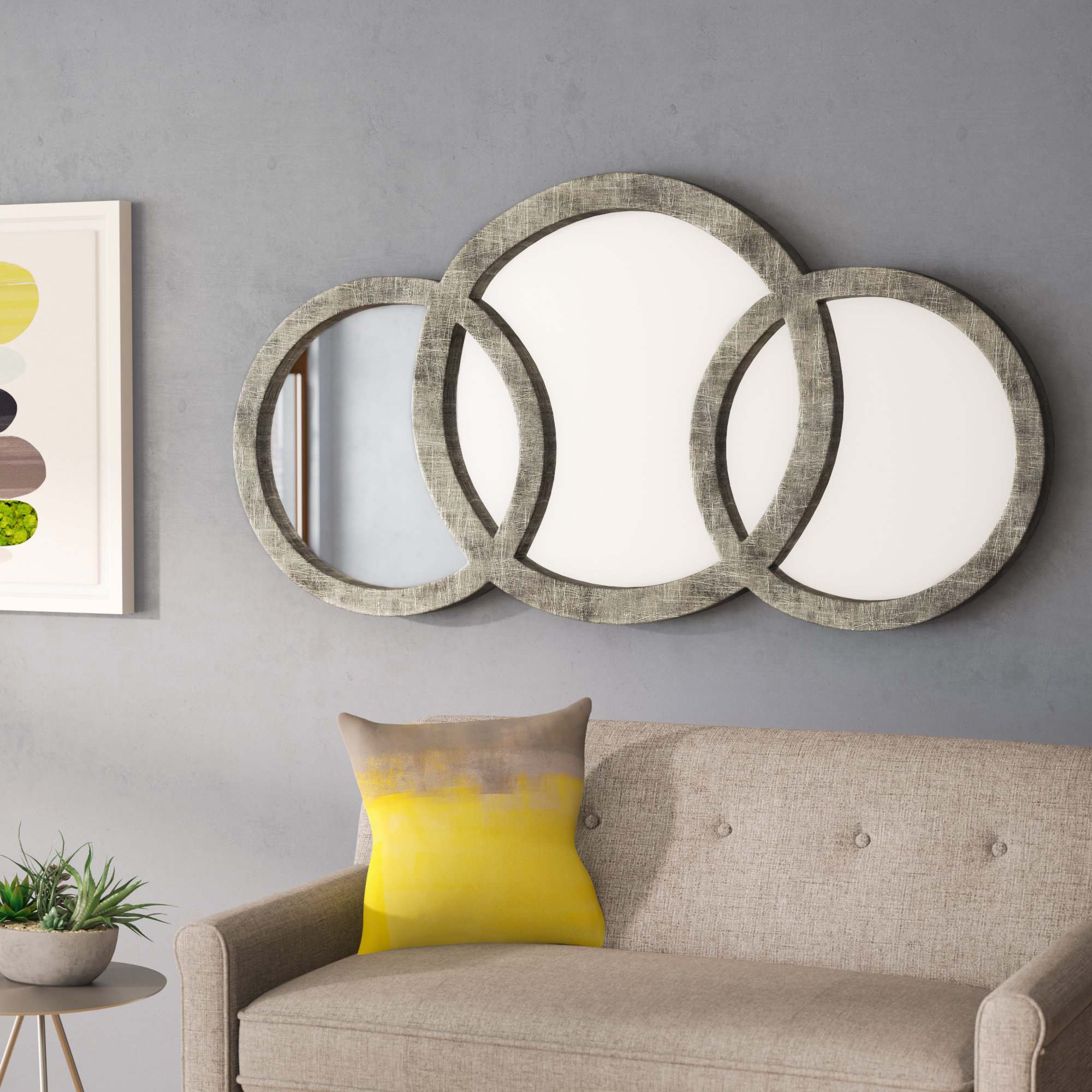 Polen Traditional Wall Mirrors With Trendy Cromartie Antique Silver Leaf 3 Ring Mirror (View 15 of 20)