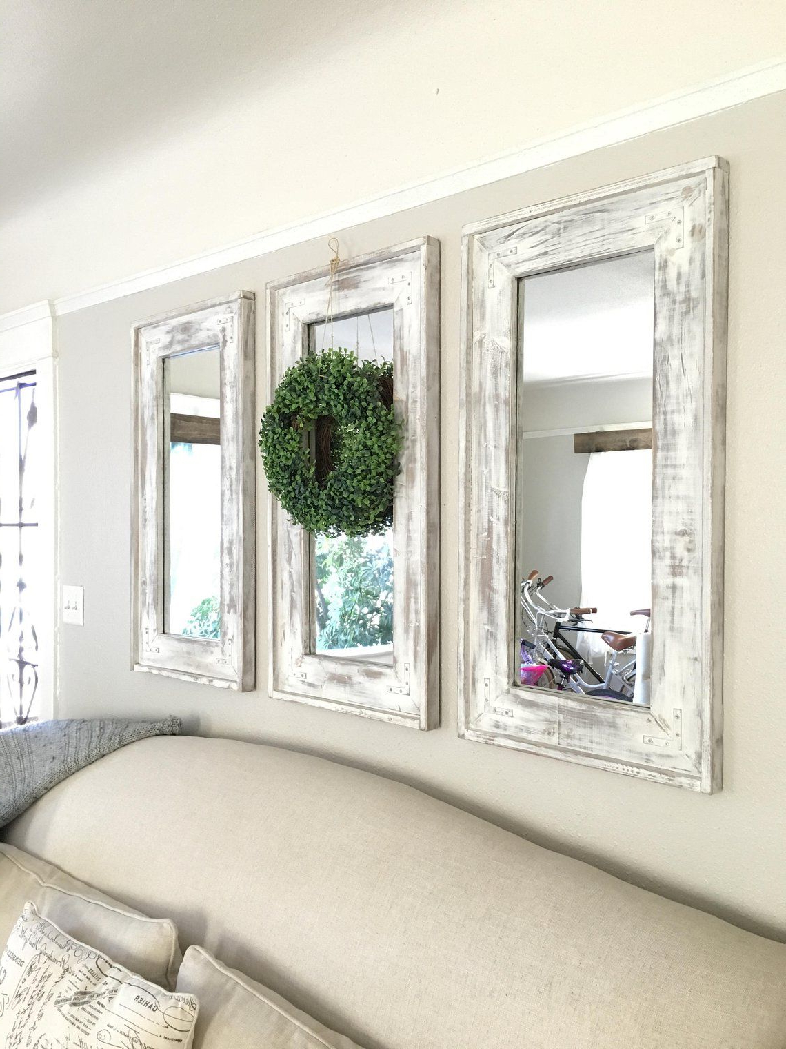 Polito Cottage/country Wall Mirrors Intended For Preferred Wood Frame Farmhouse Set Of Three Mirrors (View 9 of 20)