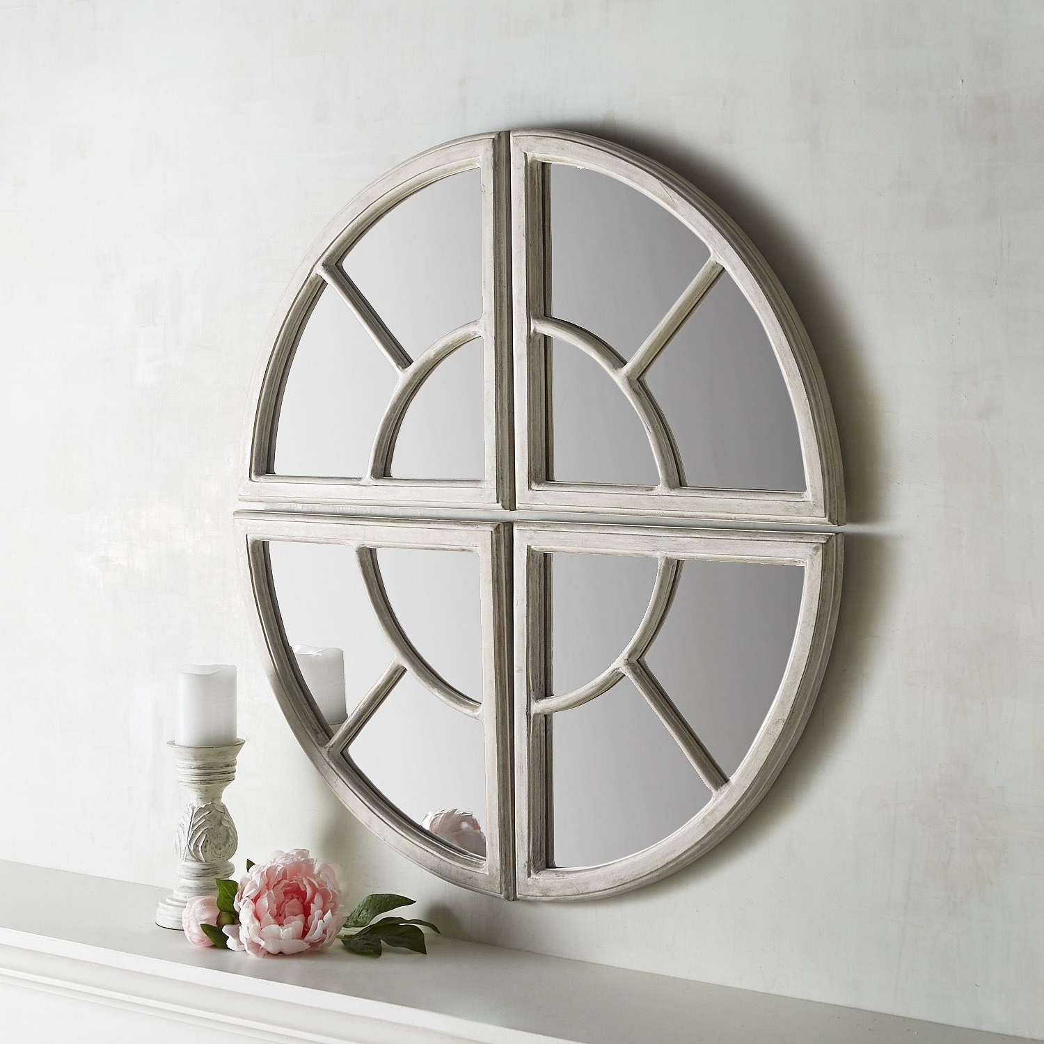Polito Cottage/country Wall Mirrors With Regard To Well Liked Maddie 4 Piece Wooden Round Mirror Set White (View 13 of 20)