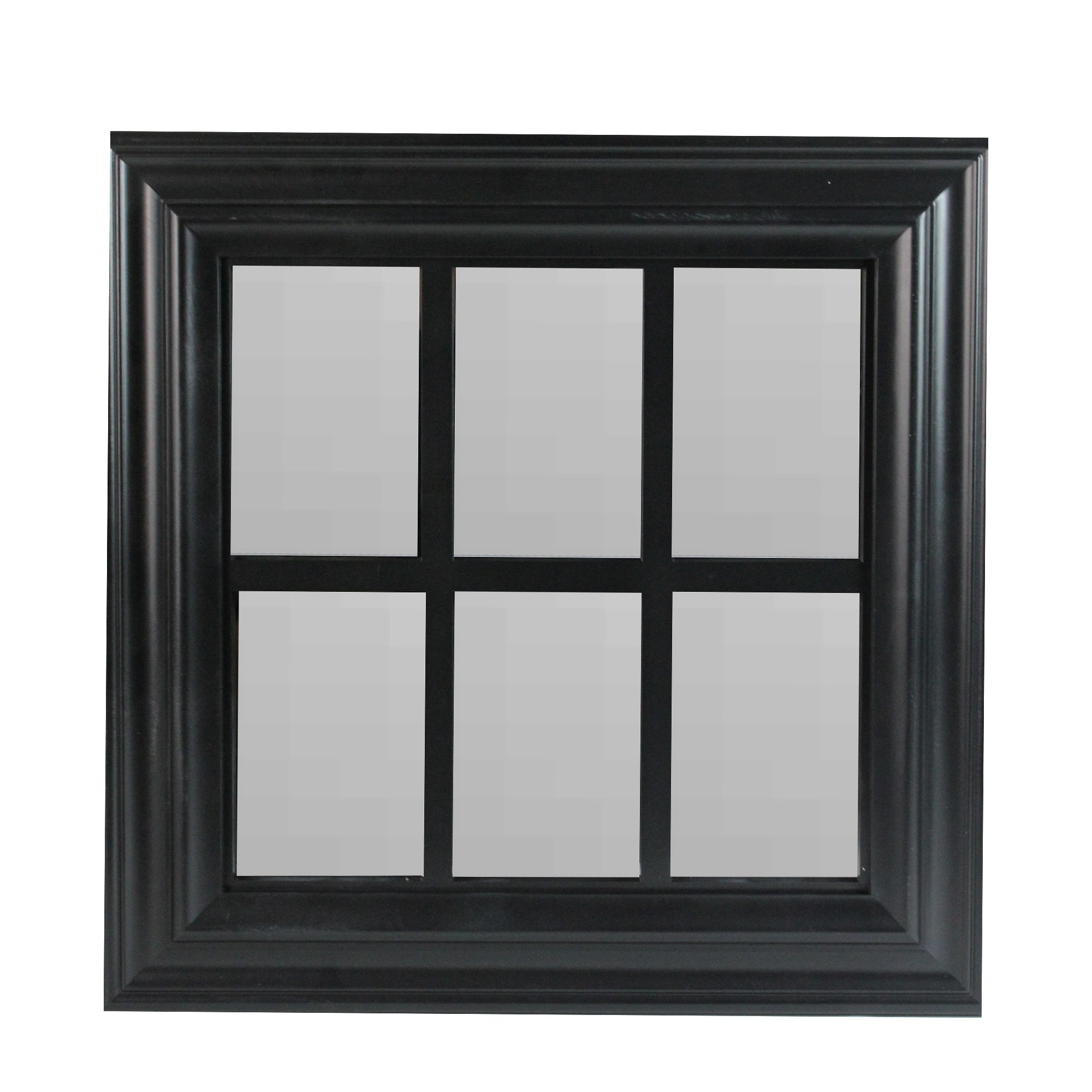 "Popular 17"" Black Window Pane Square Wall Mirror – N/a Within Square Wall Mirrors (View 9 of 20)"