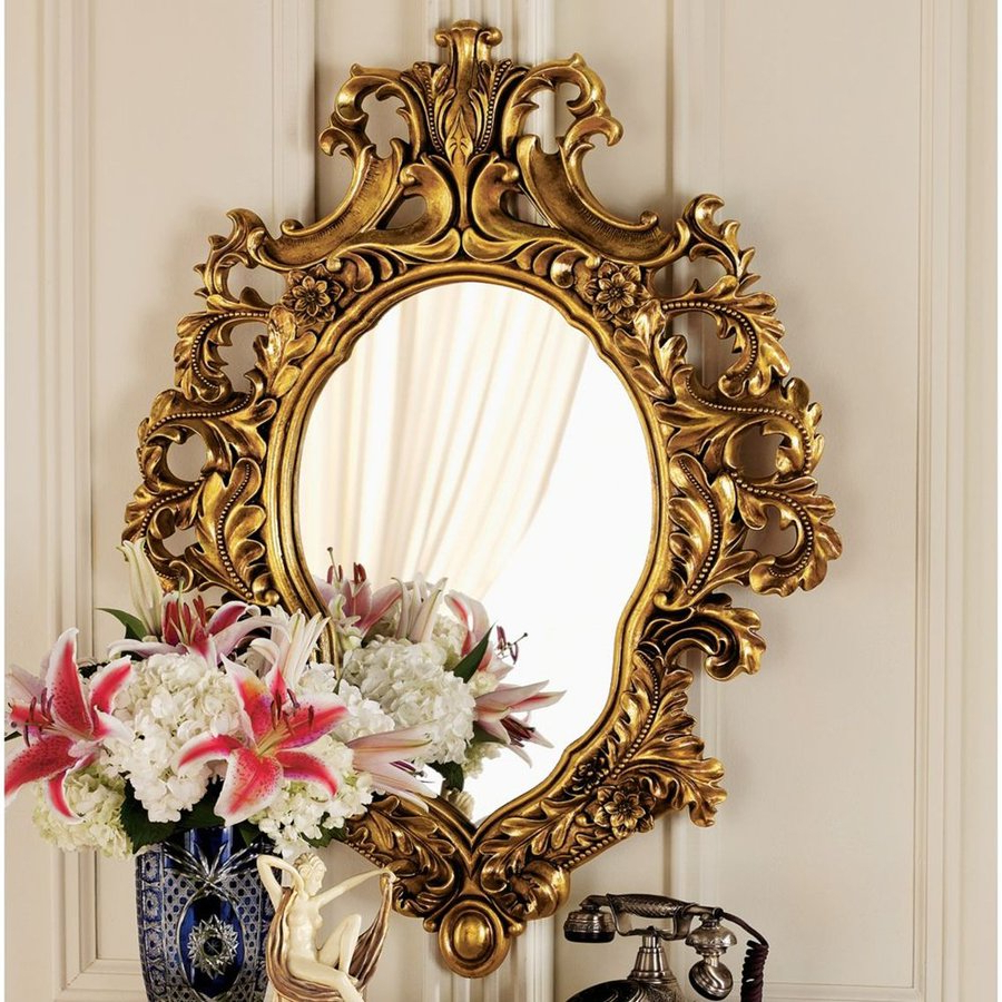 Popular Antique Gold Wall Mirrors With Design Toscano Madame Antoinette 2 In L X 28 In W Faux Antique Gold (View 12 of 20)