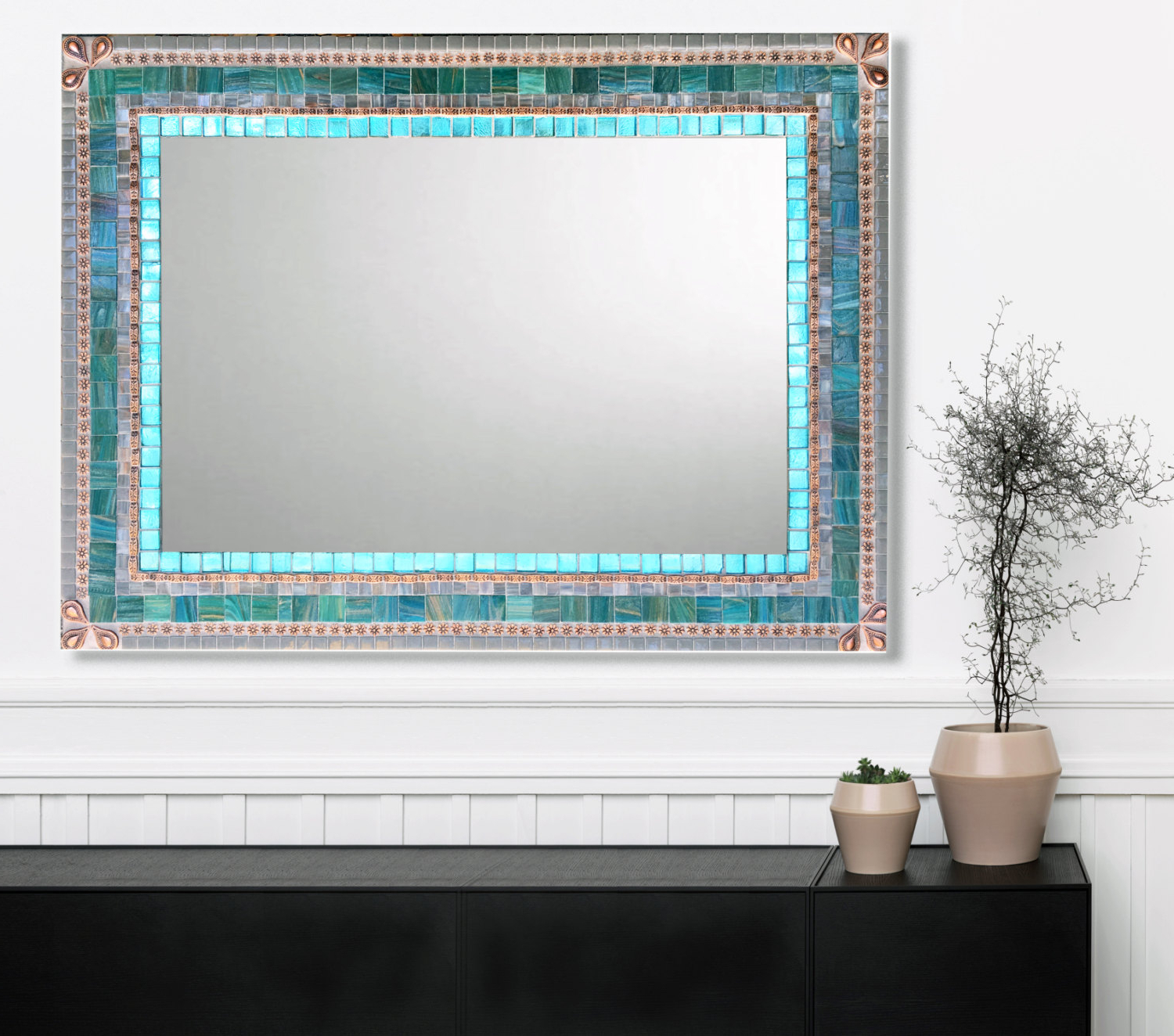 Popular Aqua Wall Mirrors In Large Wall Mirror, Mosaic Mirror, Aqua Gray Copper, Bathroom Decor, Mirror For Vanity (View 9 of 20)