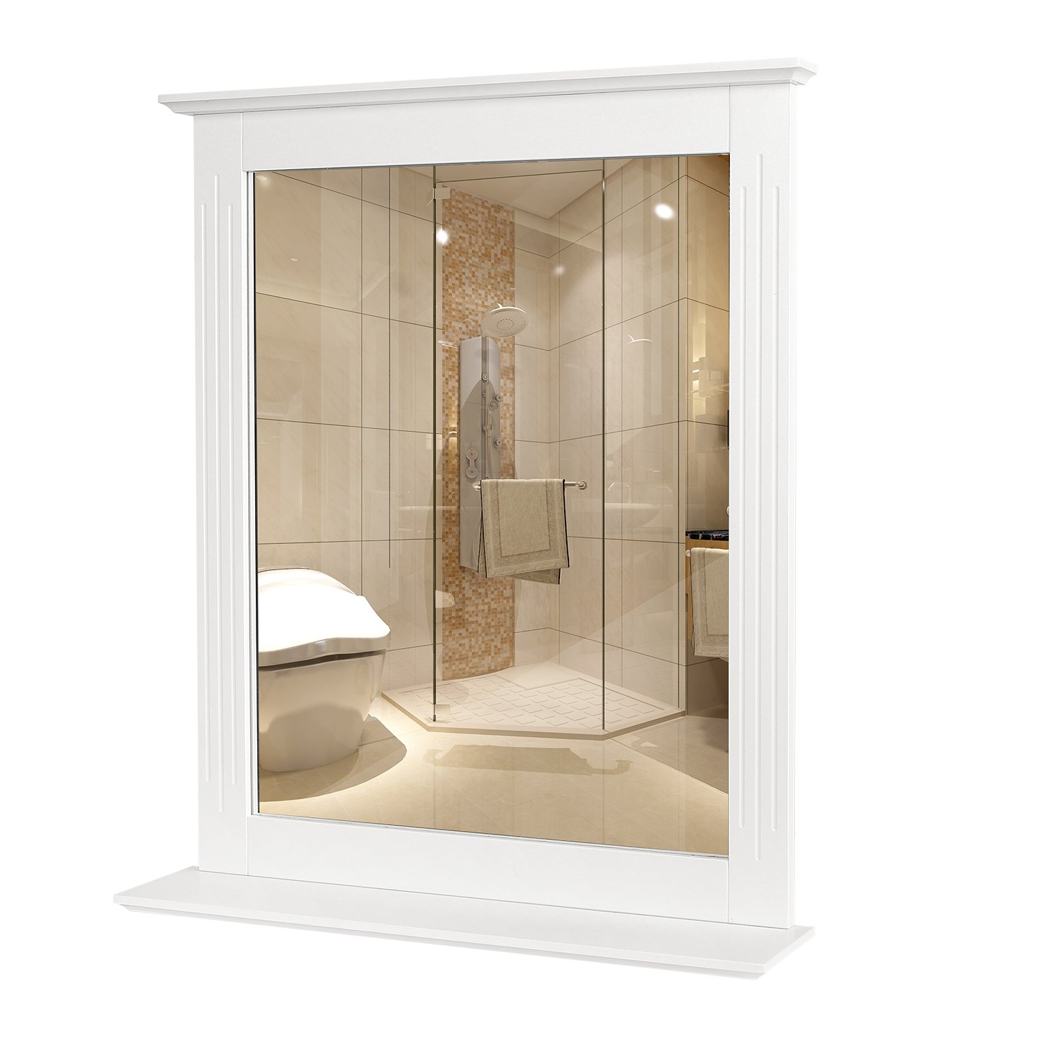 Popular Bath Wall Mirrors Pertaining To Homfa Bathroom Wall Mirror Vanity Mirror Makeup Mirror Framed Mirror With Shelf For Home Multipurpose White (View 8 of 20)