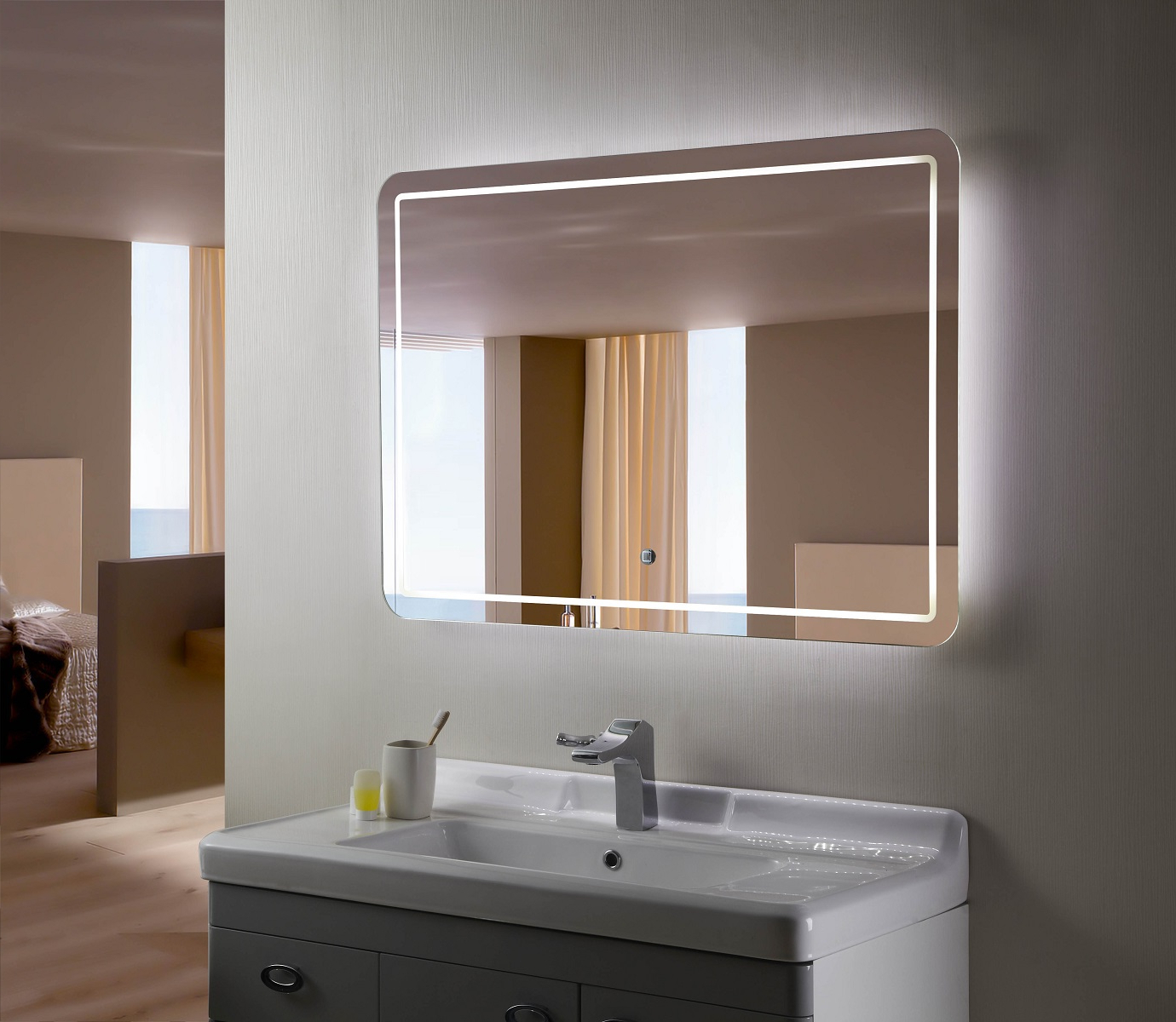 Popular Bellagio Ii Backlit Mirror Led Bathroom Mirror Horizontal With Regard To Illuminated Wall Mirrors For Bathroom (Gallery 6 of 20)