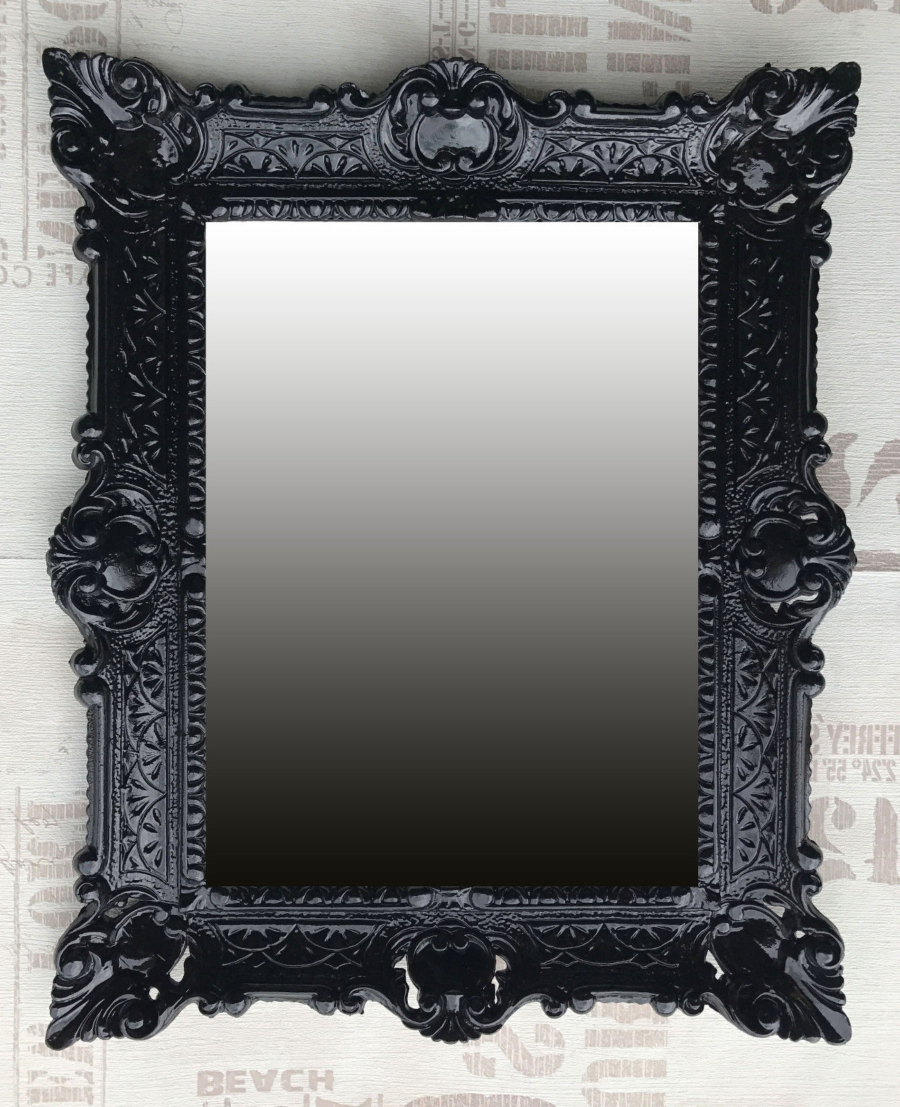 Popular Black Wall Mirrors Inside Details About Wall Mirror Black Antique Baroque Bathroom Floor Vanity 22x18 1/8in (View 19 of 20)